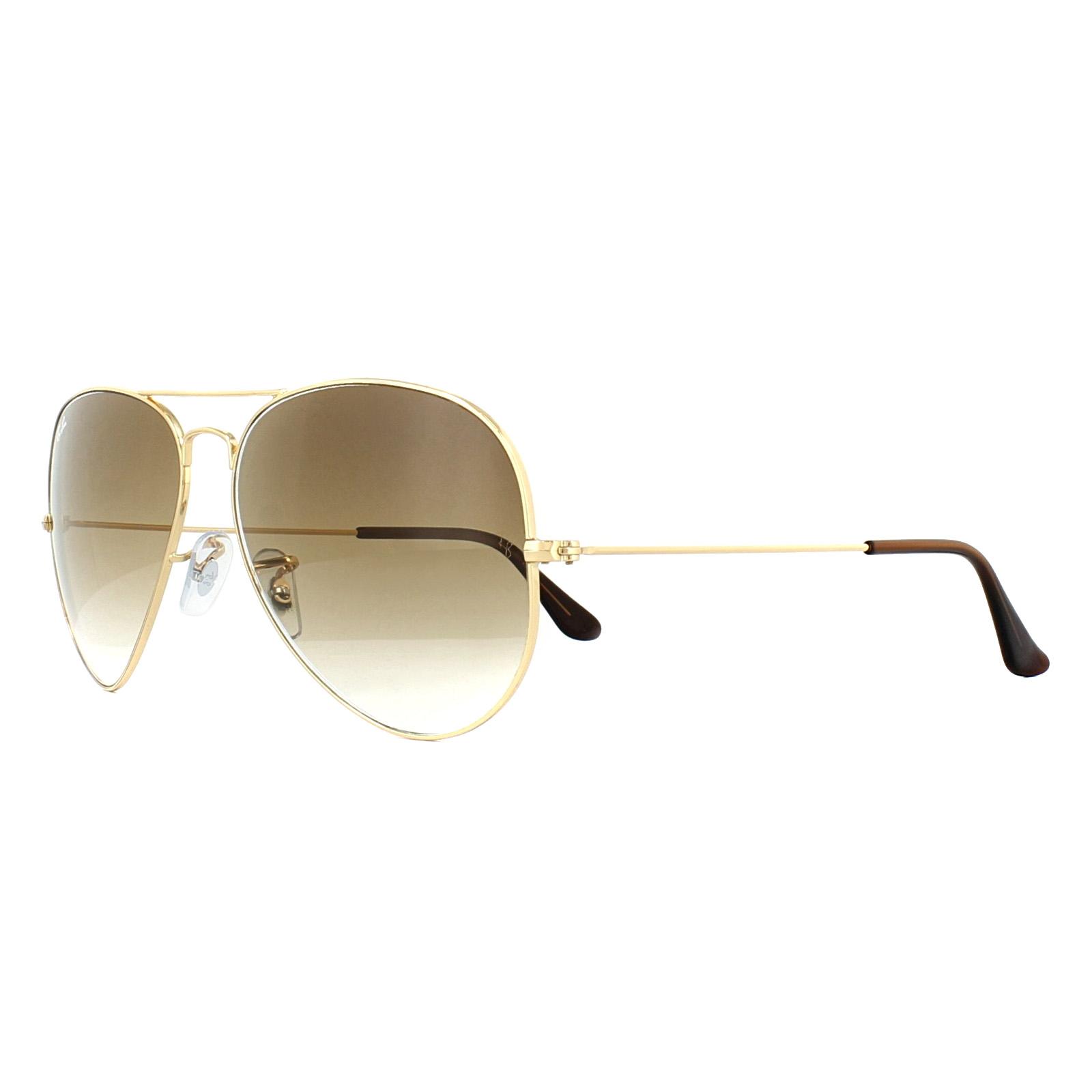 125684f87b8 Sentinel Ray-Ban Sunglasses Aviator 3025 Gold Brown Gradient 001 51 Large  62mm