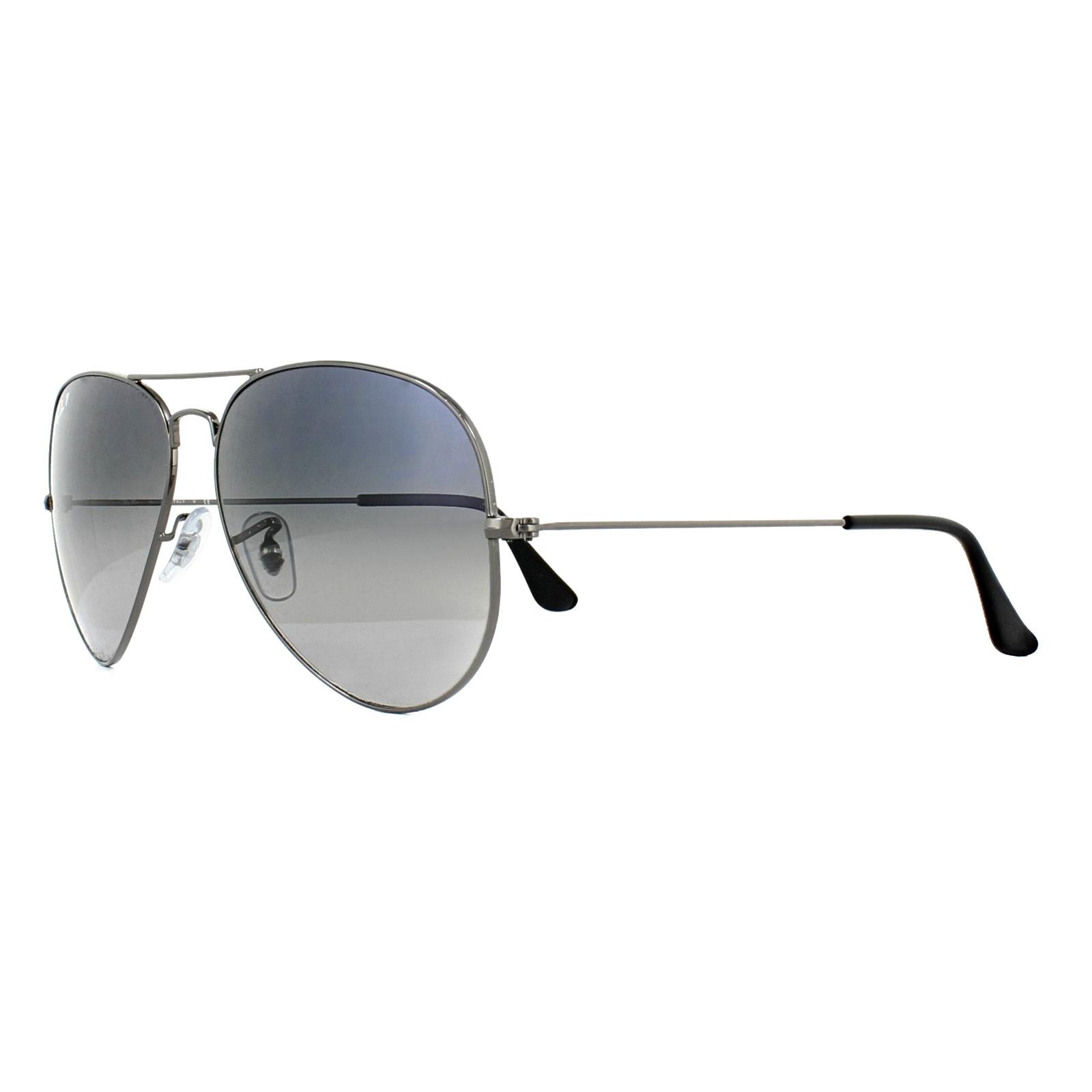 2f26a2772db8c CENTINELA Gafas de sol de Ray-Ban aviador 3025 Gunmetal polarizado azul  degradado gris 004