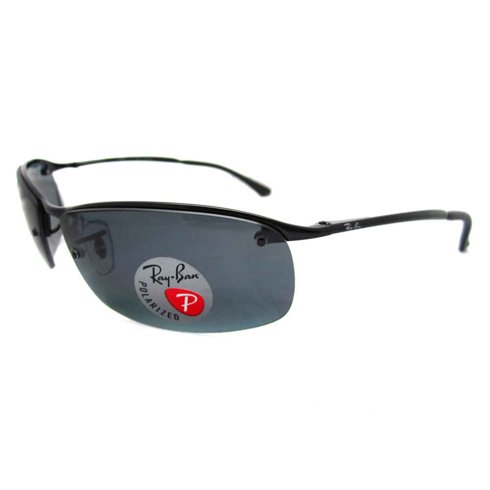 Charmant Sentinel Rayban Sunglasses Top Bar 3183 Shiny Black Polarized Grey 002/81