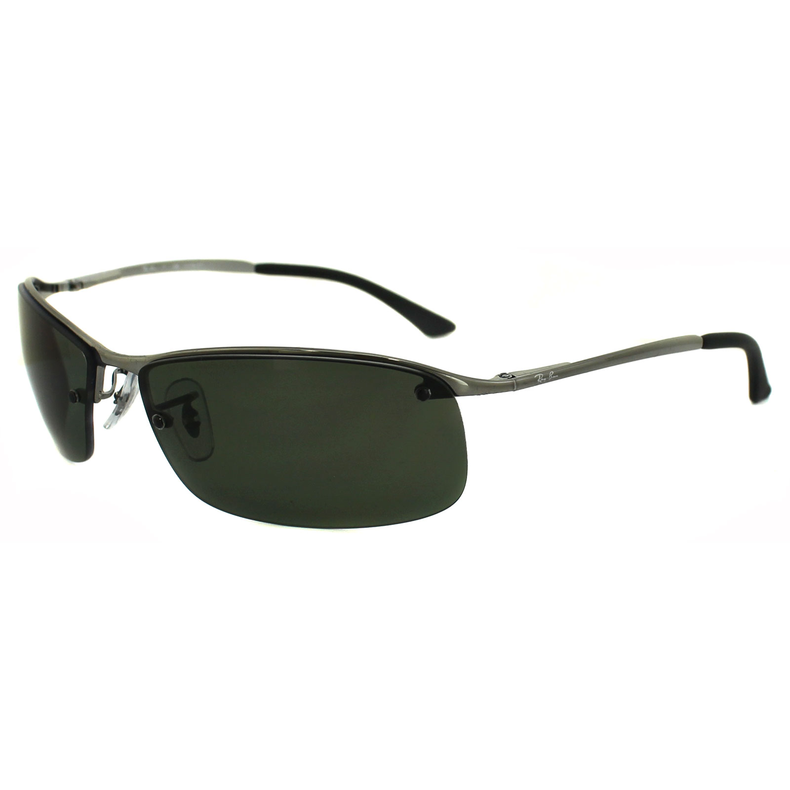Charmant Sentinel Rayban Sunglasses Top Bar 3183 Gunmetal Polarized Green 004/9A