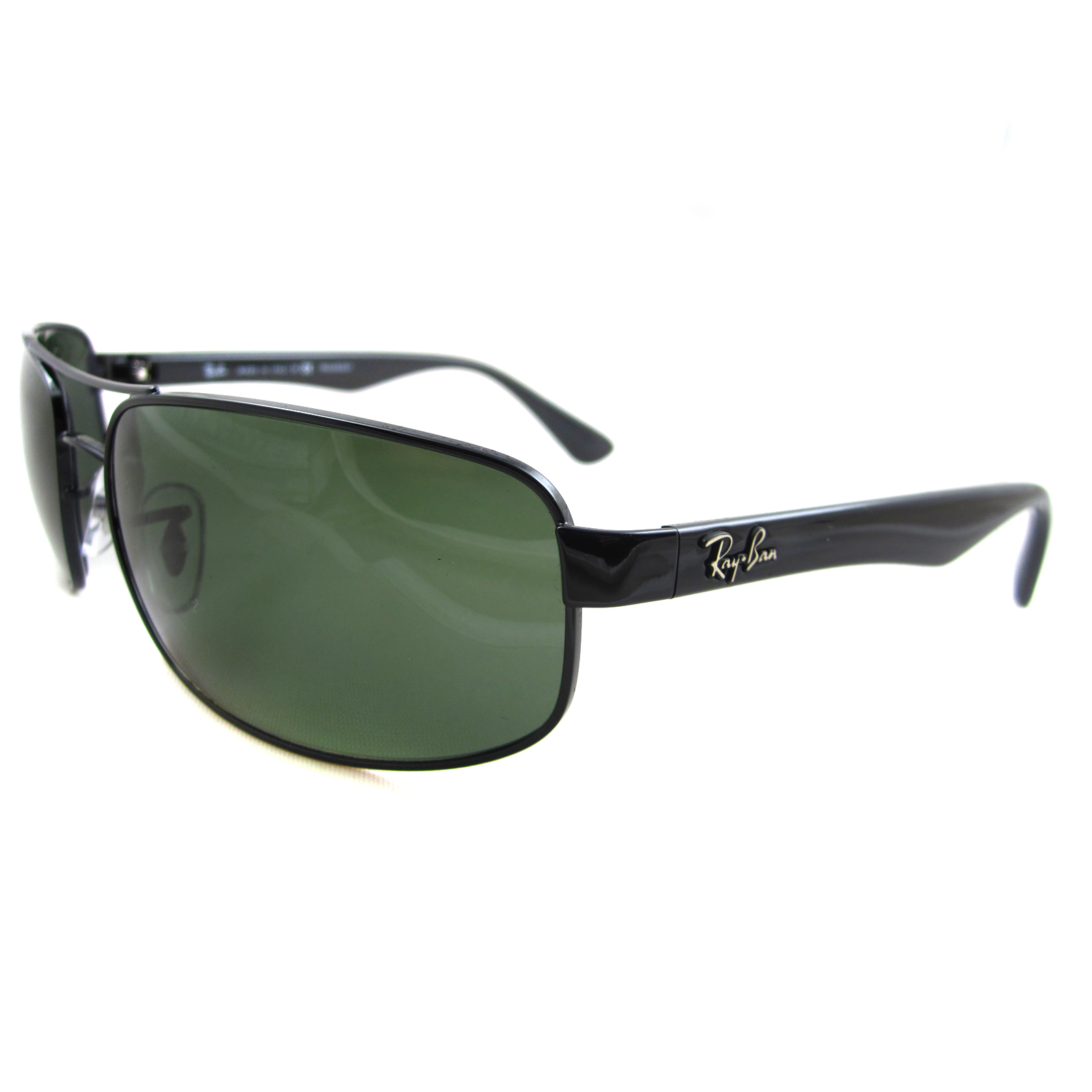 41f6e28cc62 Sentinel Rayban Sunglasses 3445 Black Green Polarized 002 58 64mm