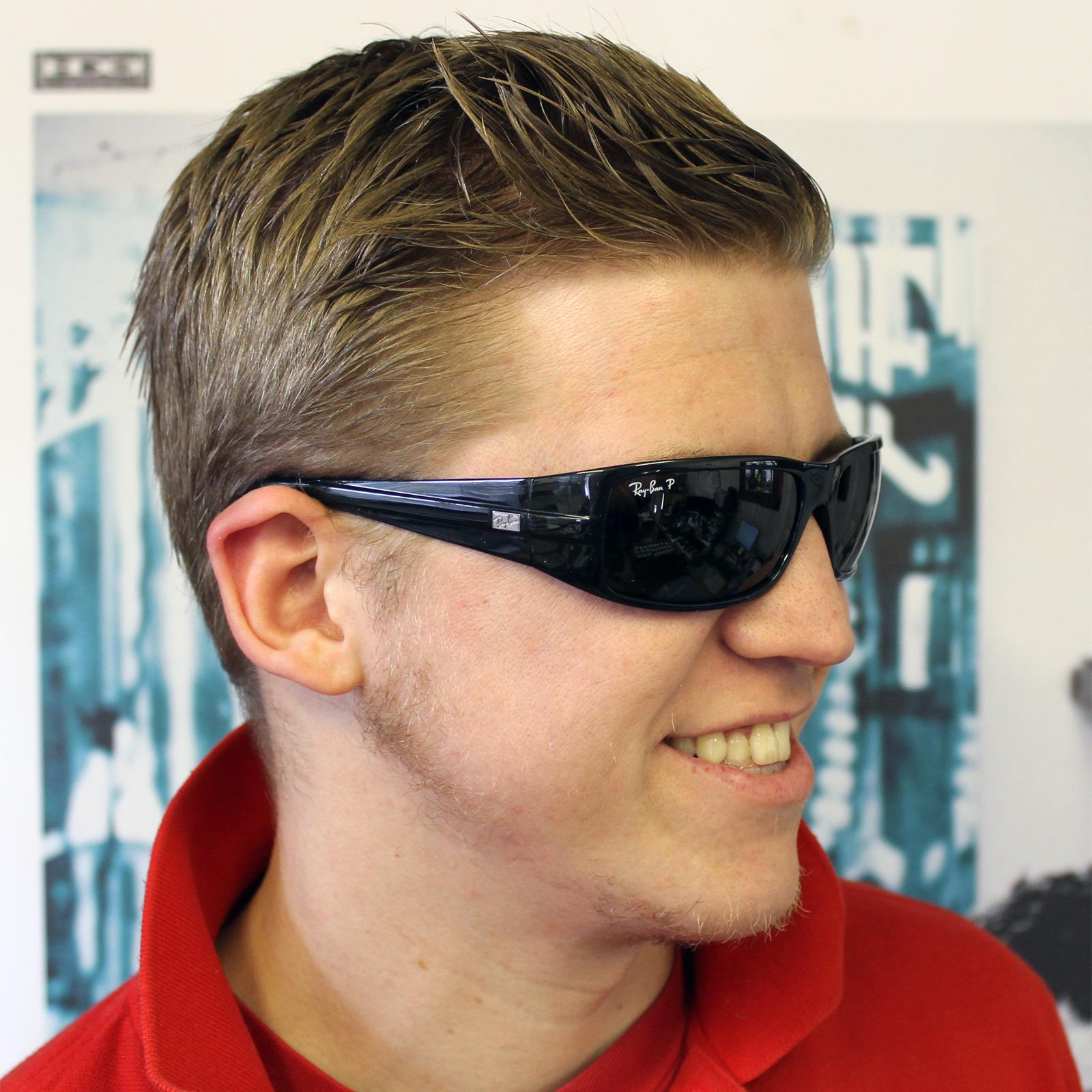 Cheap Rayban Sunglasses 4057 Black Green Polarized 601 58
