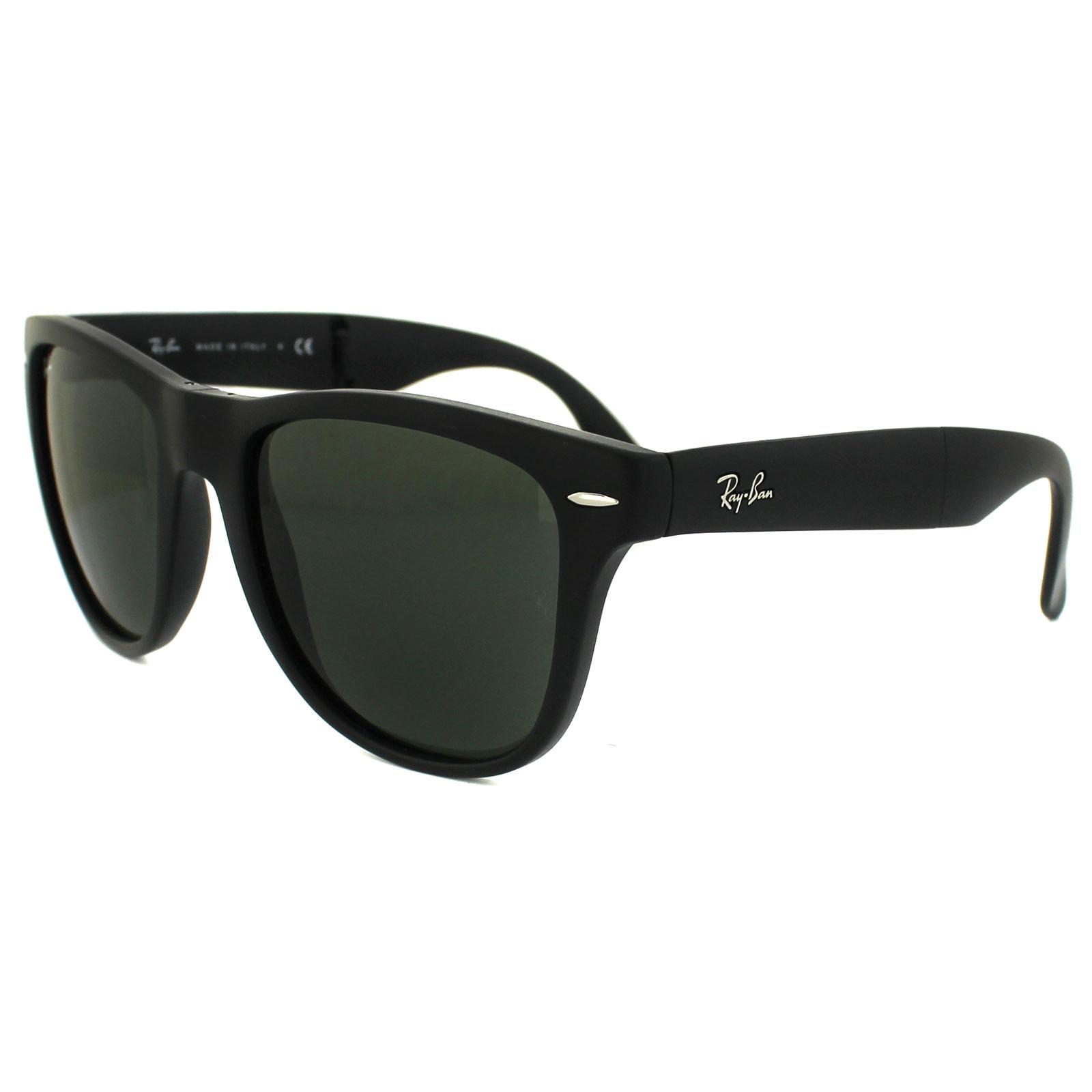221634d29dfbf Sentinel Ray-Ban Sunglasses Folding Wayfarer 4105 Matt Black Green 601S  Large 54mm