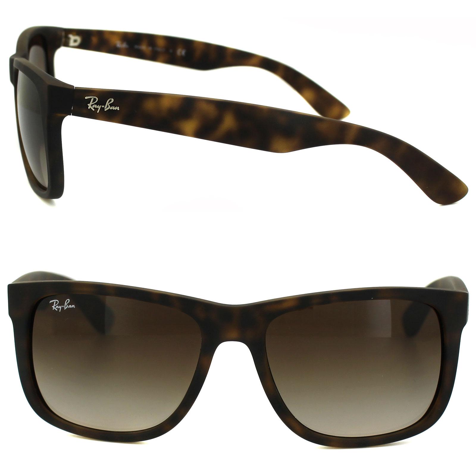 e7ed419303 Sentinel Rayban Sunglasses Justin 4165 Rubber Light Havana Brown Gradient  710 13