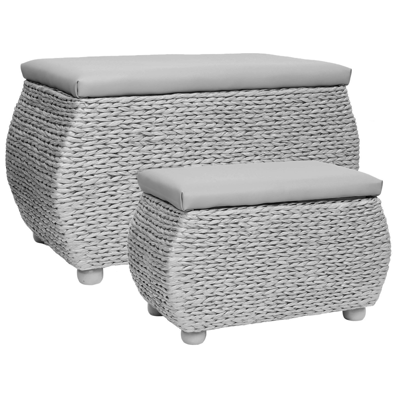 Hartleys Twin Storage Trunk Stool Bedding Blanket Rattan