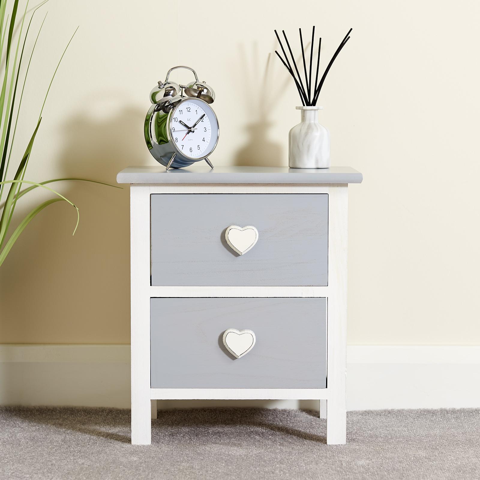 hartleys cabinet commode table de nuit chevet blanc gris. Black Bedroom Furniture Sets. Home Design Ideas