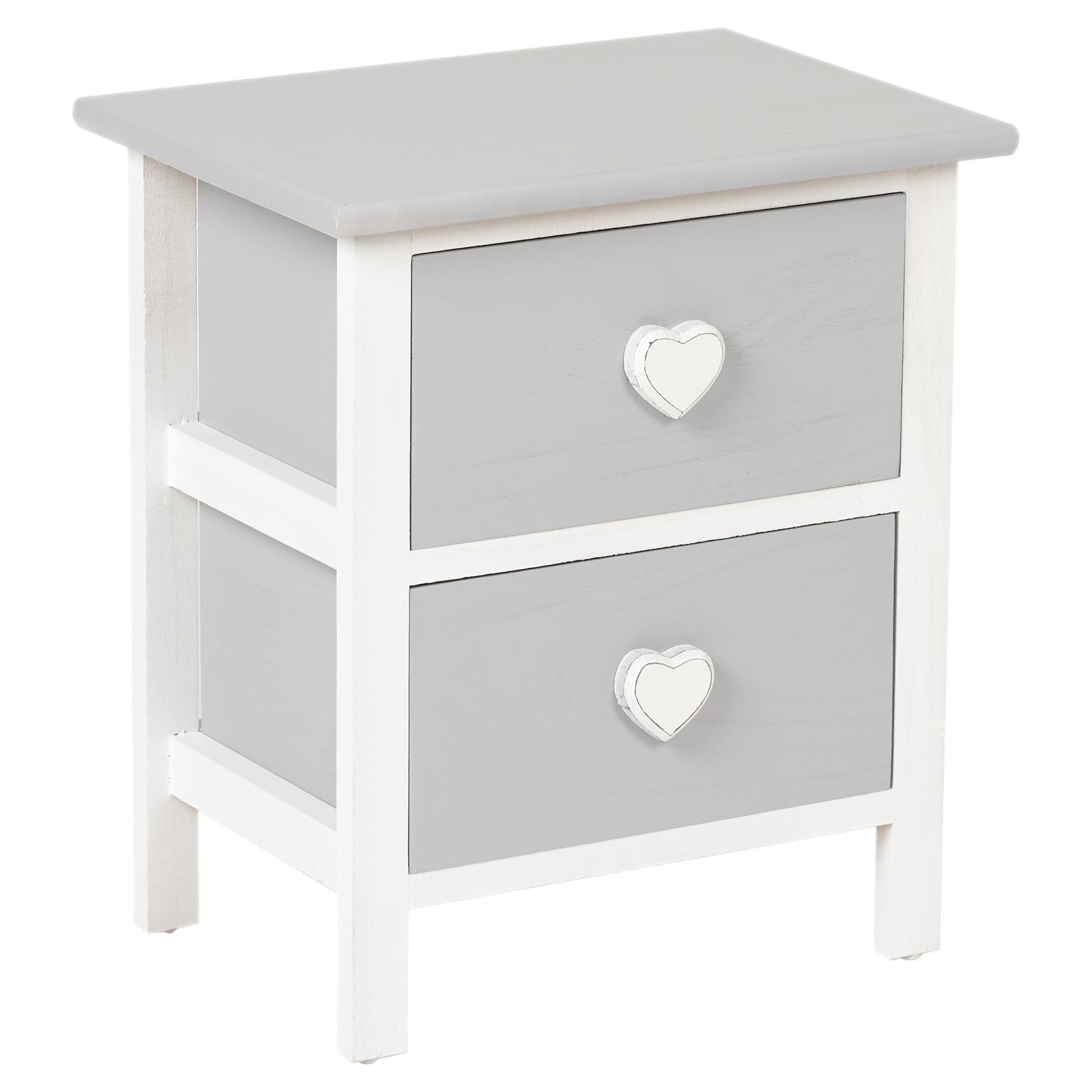 Details Sur Hartleys Cabinet Commode Table De Nuit Chevet Blanc Gris Coeur Chambre Fille