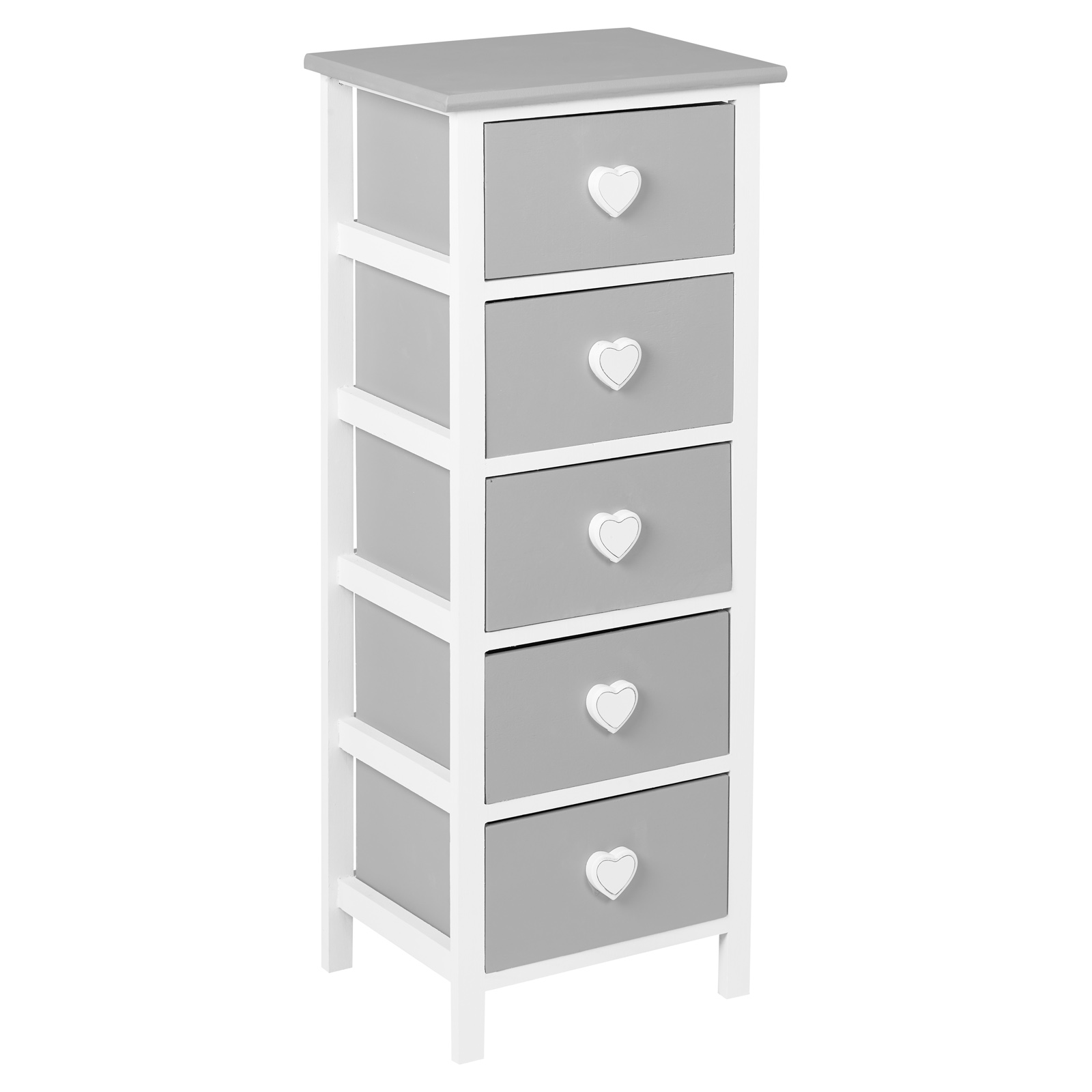 Details About Hartleys White Grey 5 Drawer Heart Storage Unit Chest Of Drawers S Bedroom