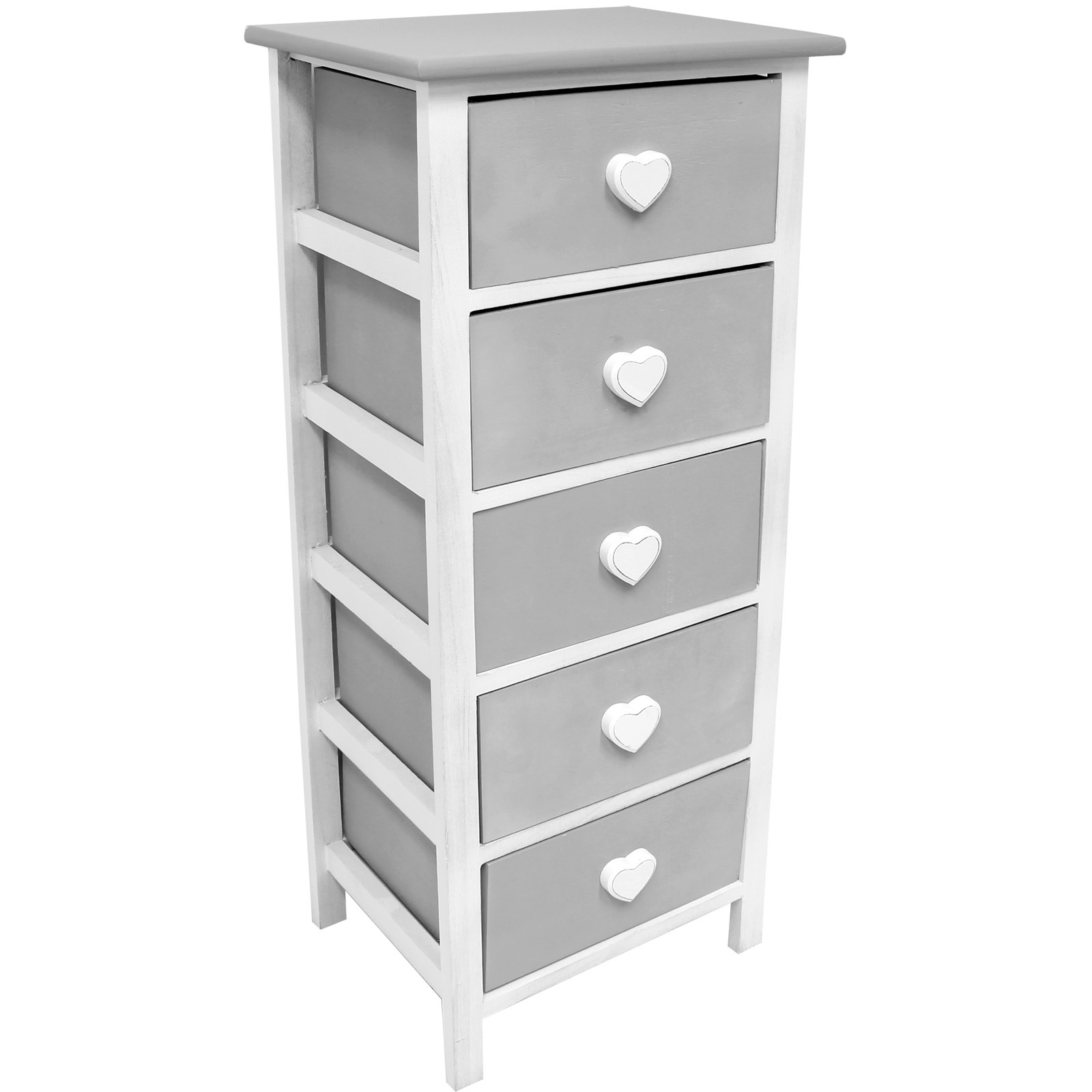 Hartleys white grey 5 drawer heart storage unit chest of - Bedroom storage cabinets with drawers ...