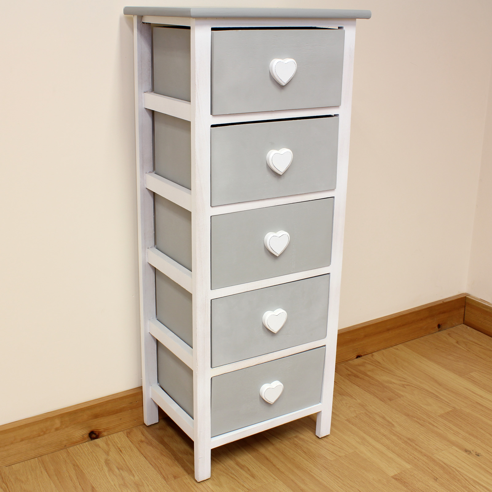 HARTLEYS WHITE & GREY 5 DRAWER HEART STORAGE UNIT CHEST OF DRAWERS
