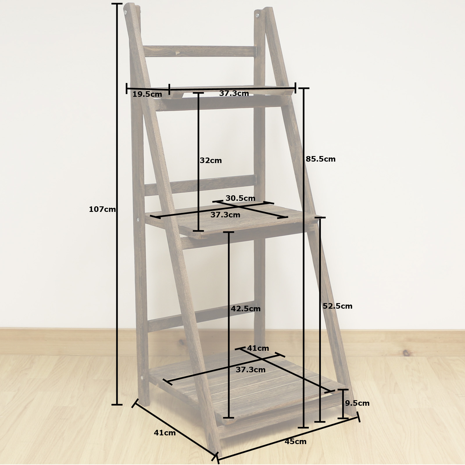 3 tier brown ladder shelf display unit free standing for Piani di garage free standing
