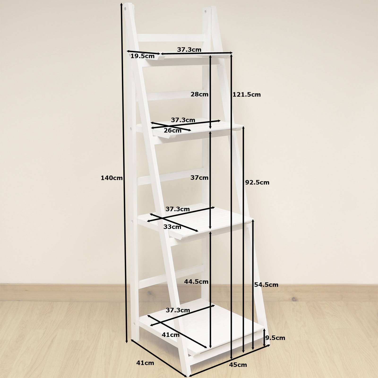 white shelving unit 4 tier white ladder shelf display unit free standing 28986