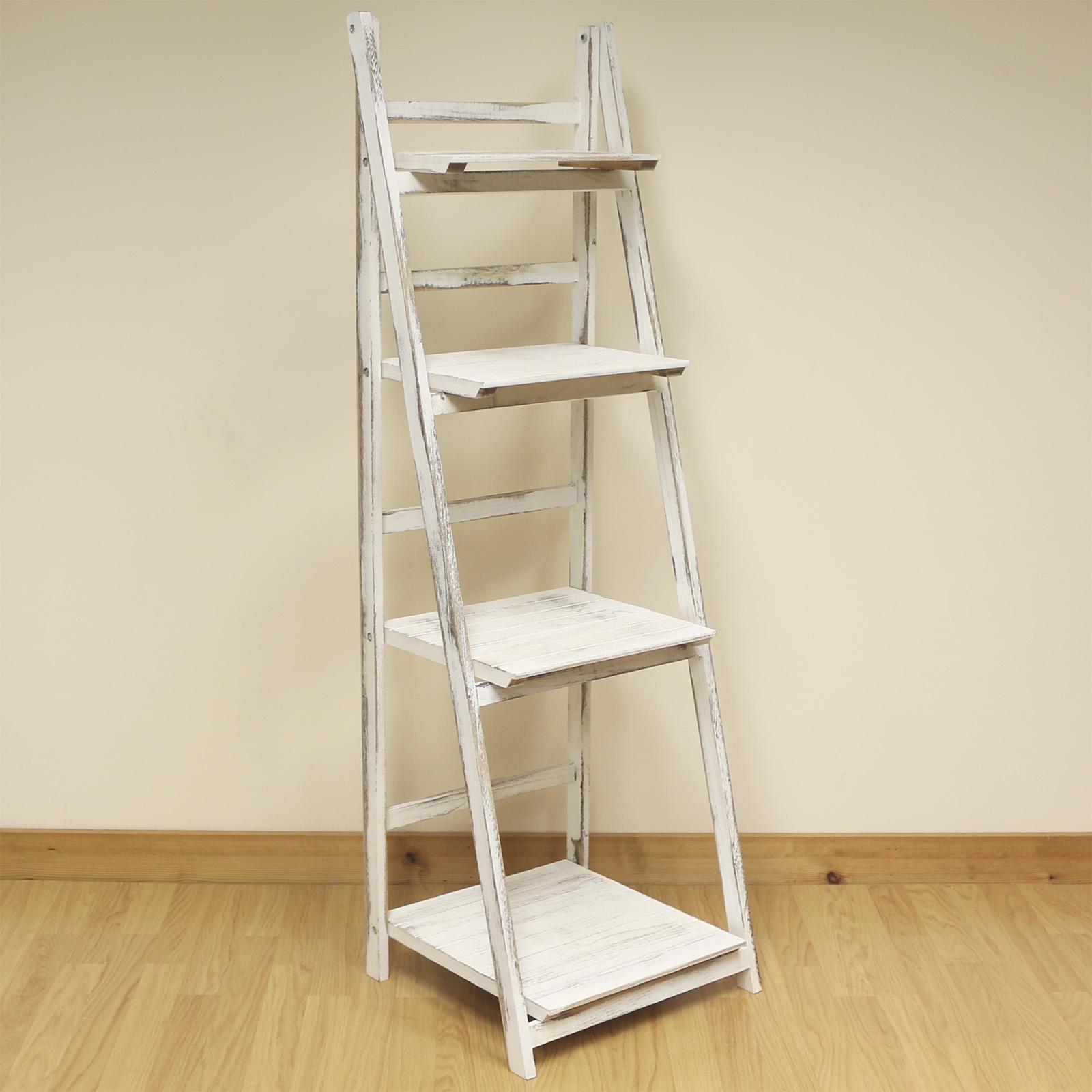 4 Tier White Wash Ladder Shelf Display Unit Free Standing