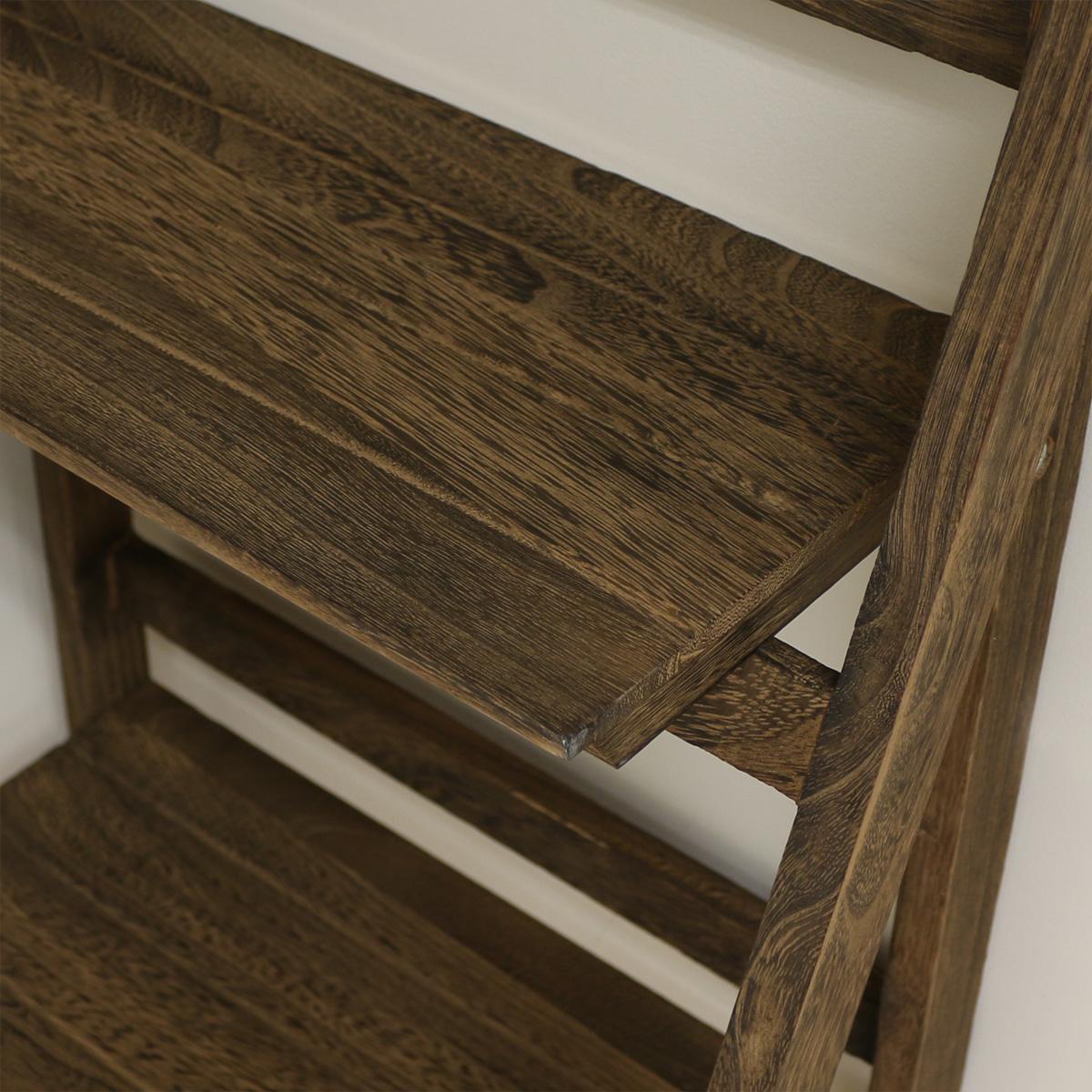 4 Tier Brown Ladder Shelf Display Unit Free Standing
