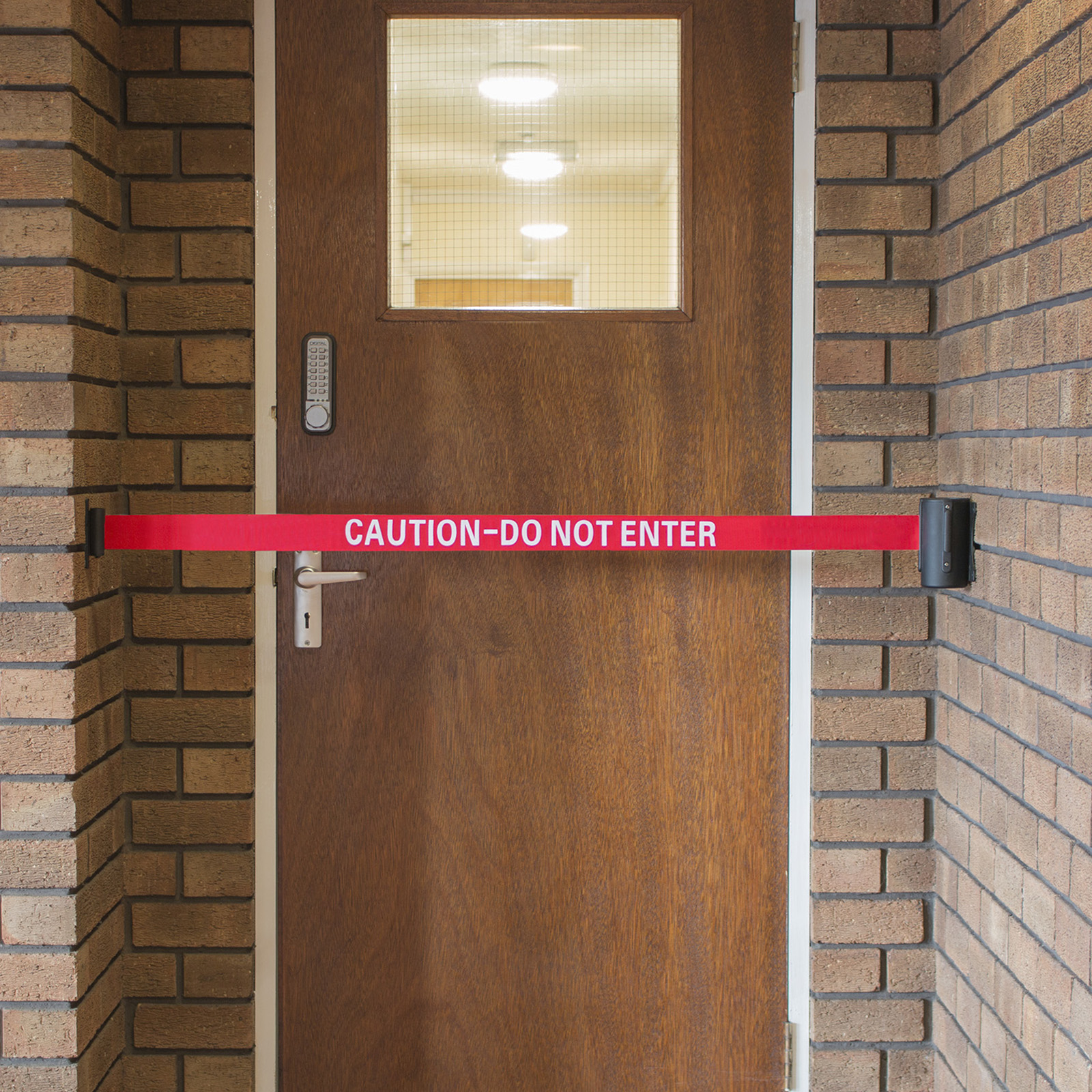 Caution Do Not Enter Red Retractable Security Belt