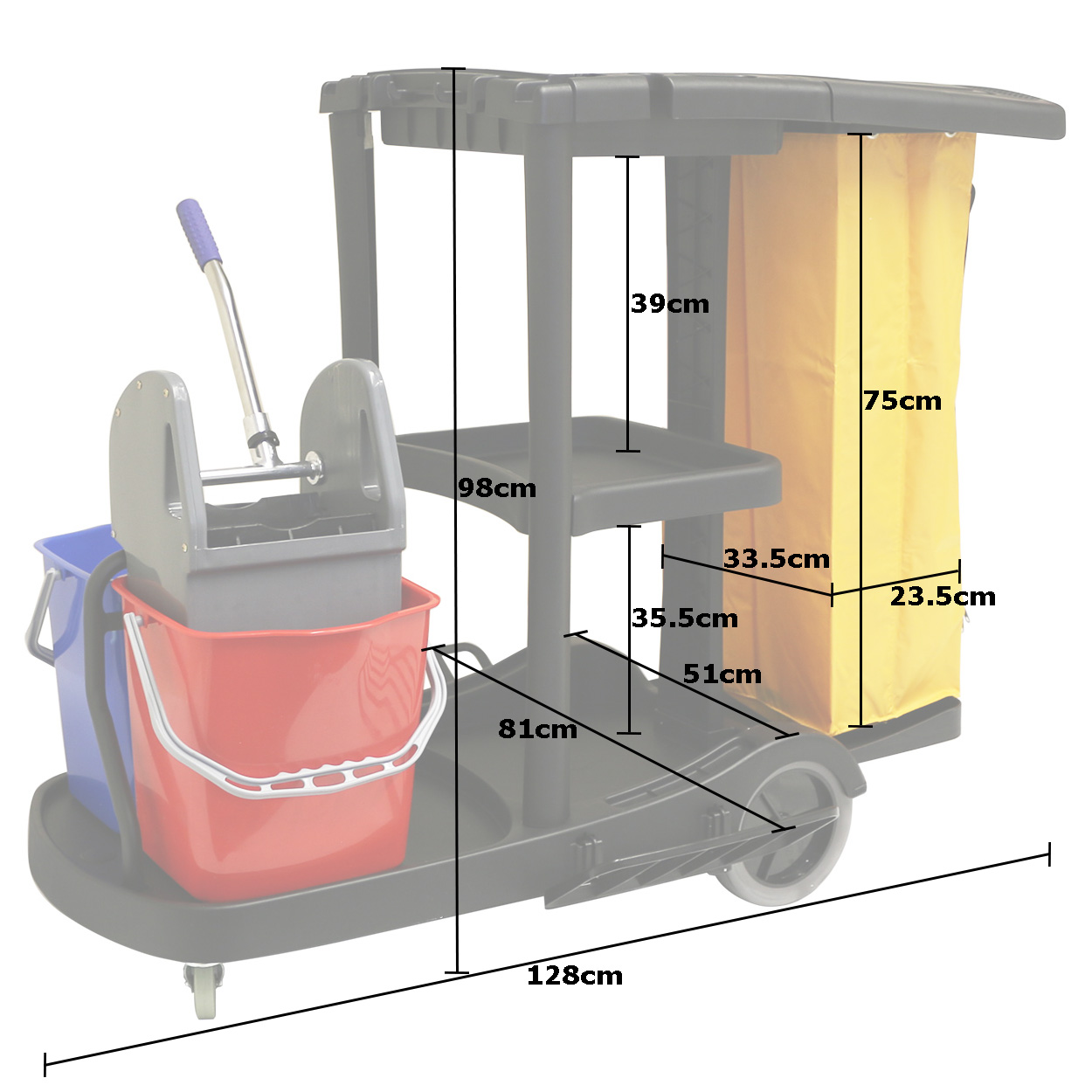 Hartleys Janitorial Cleaning Trolley Hotel School Cleaner