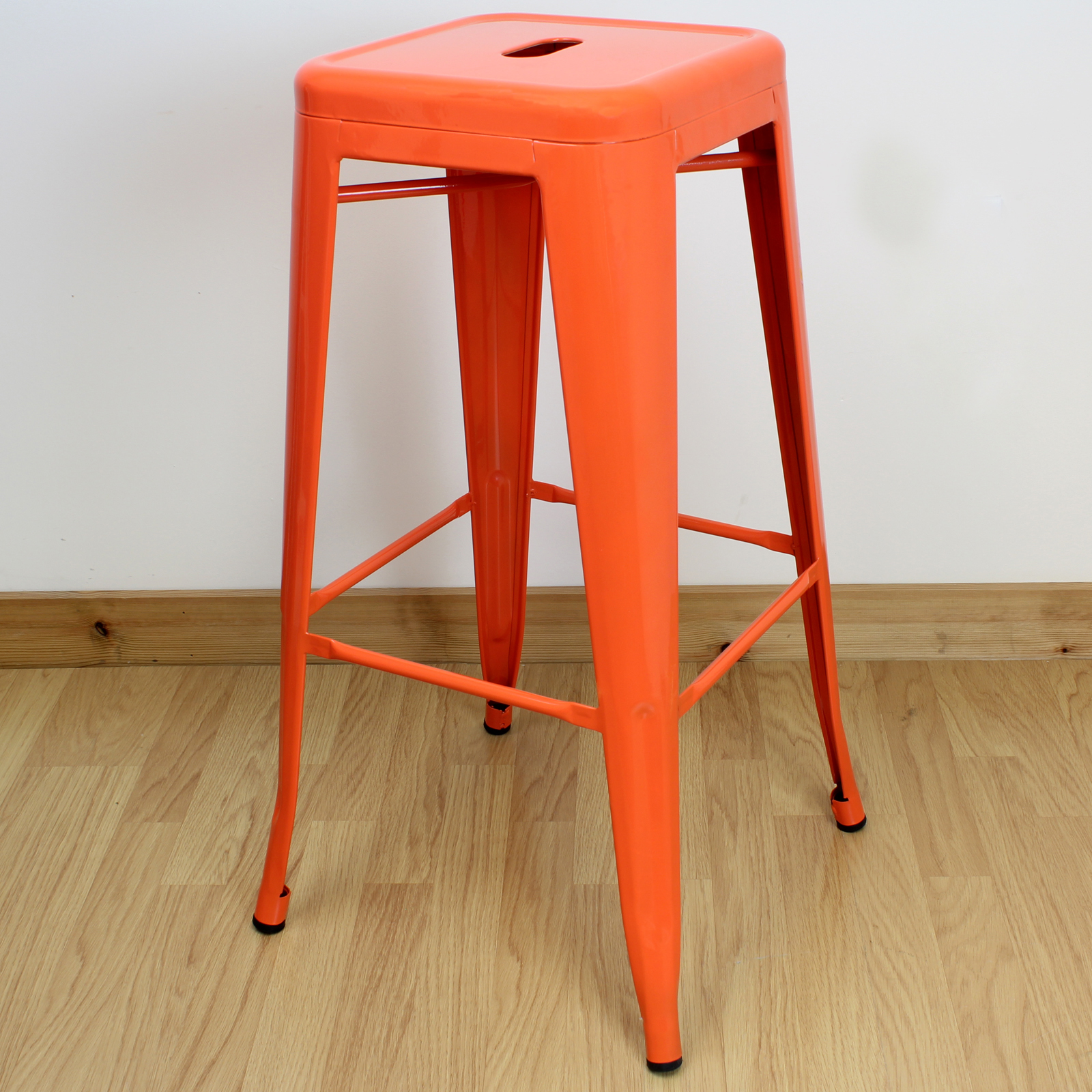 Set of 2 Two Orange High Stools Industrial Breakfast Bar Cafe
