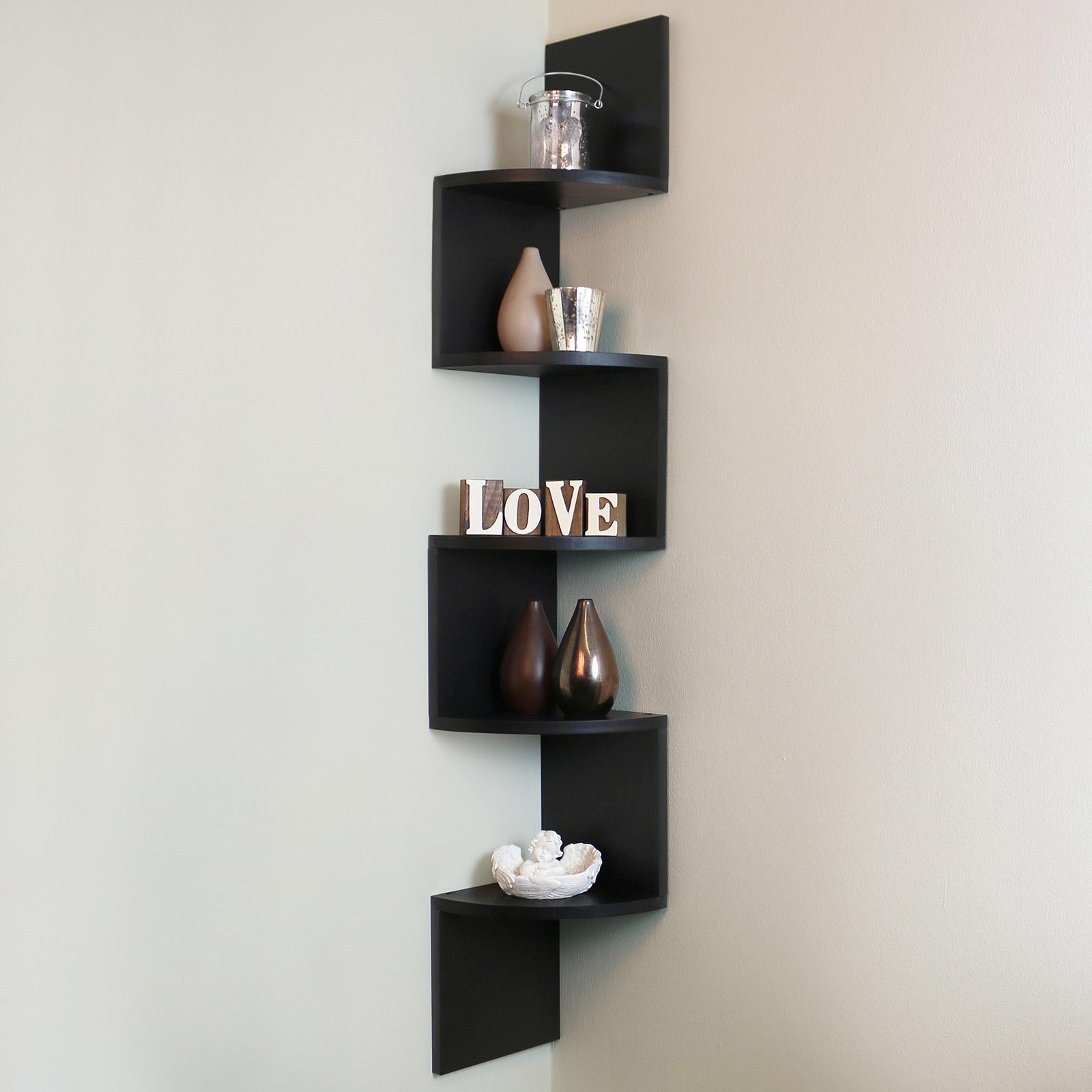 5 tier black wall mounted zigzag corner floating shelf. Black Bedroom Furniture Sets. Home Design Ideas