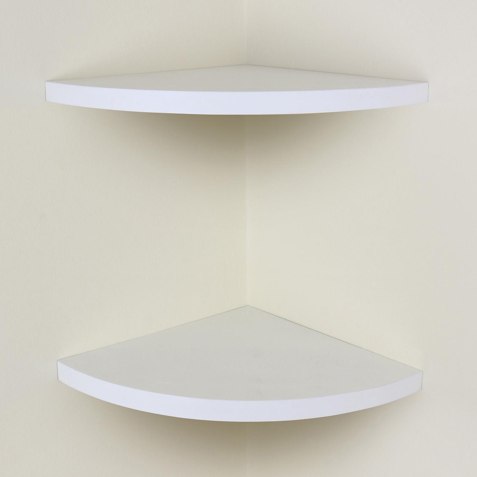white chunky wood curved radial floating corner wall shelf. Black Bedroom Furniture Sets. Home Design Ideas