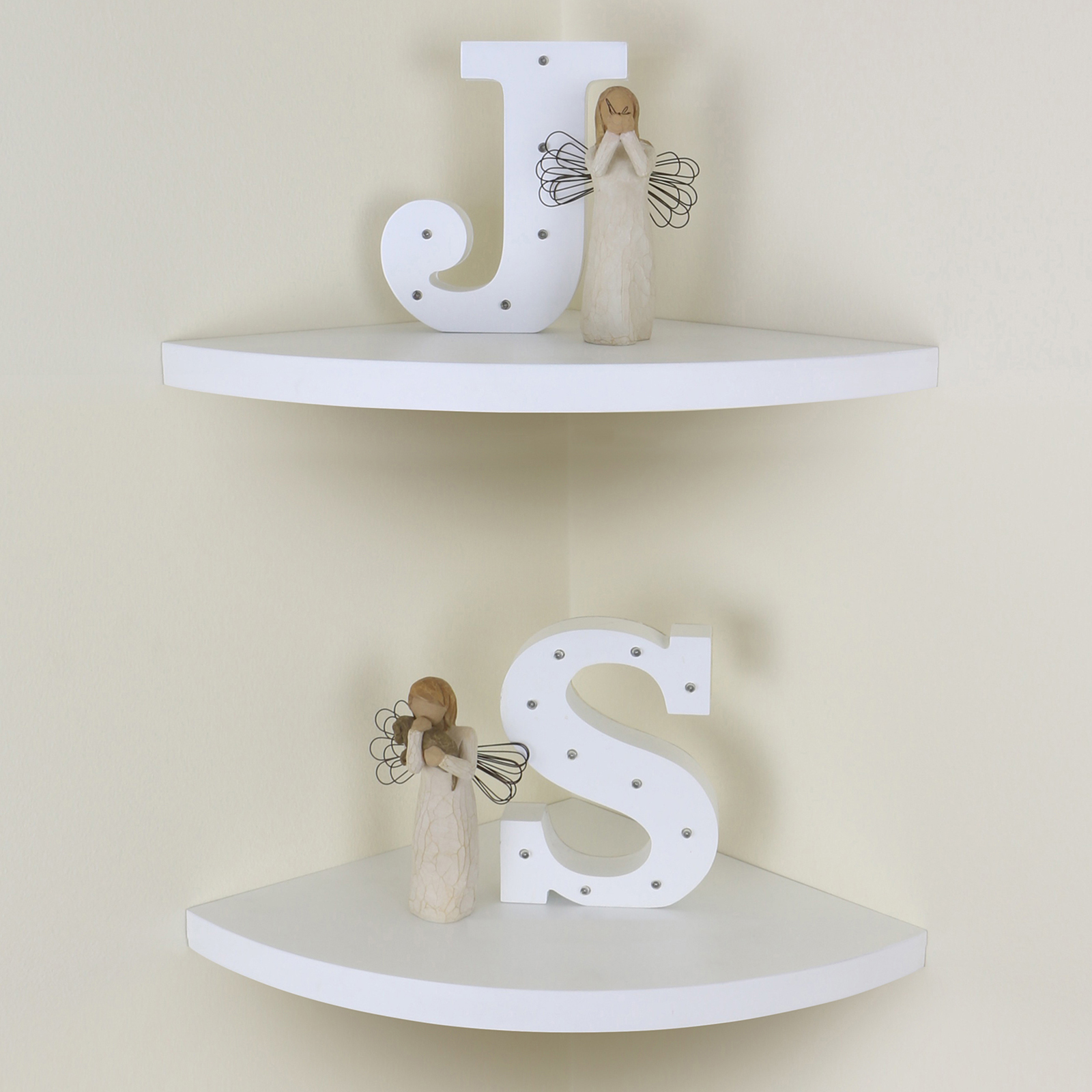 Sentinel White Chunky Wood Curved Radial Floating Corner Wall Shelf Pair Set Of 2 Shelves