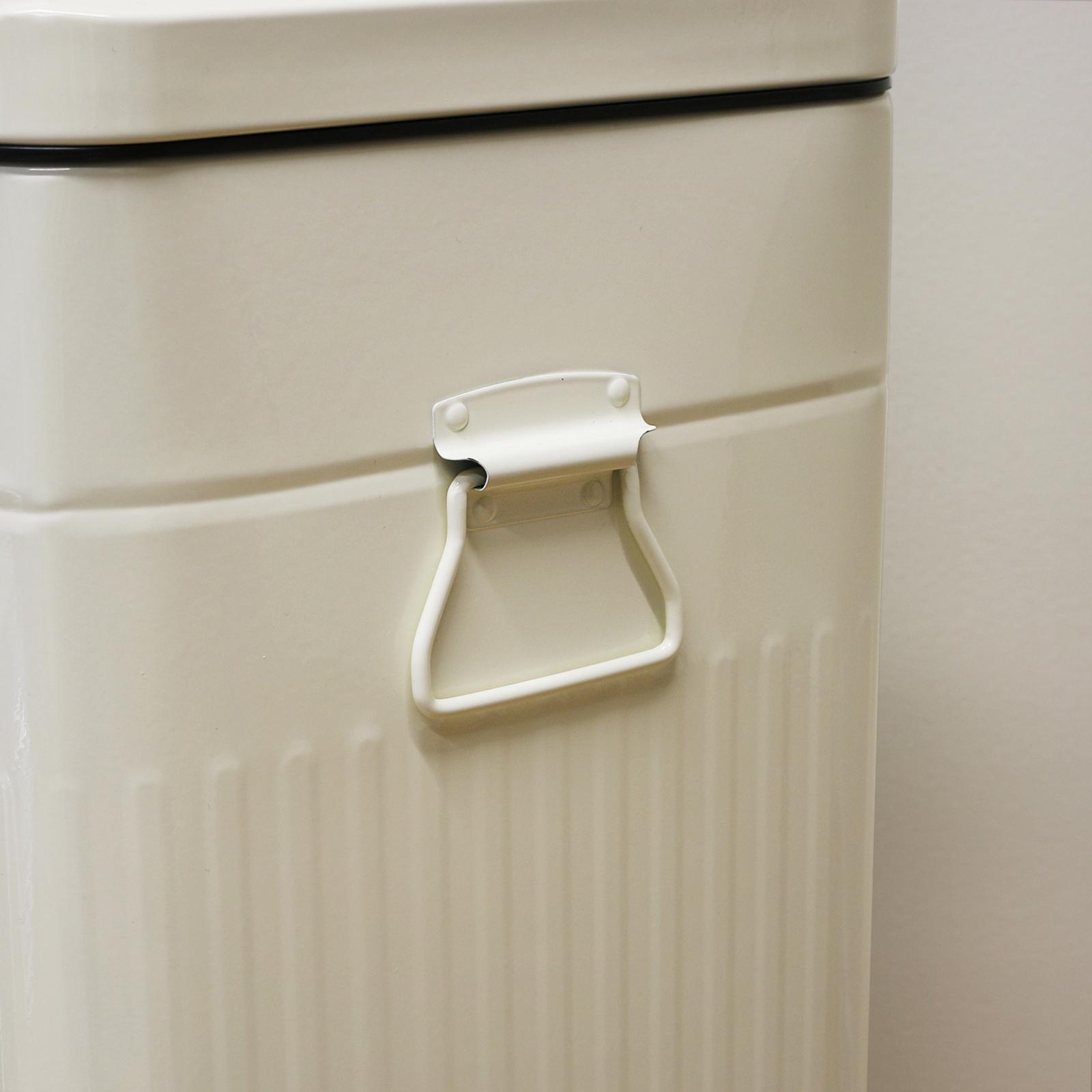 Large 30L Cream Retro Square Foot Pedal Kitchen Bin Steel Rubbish ...