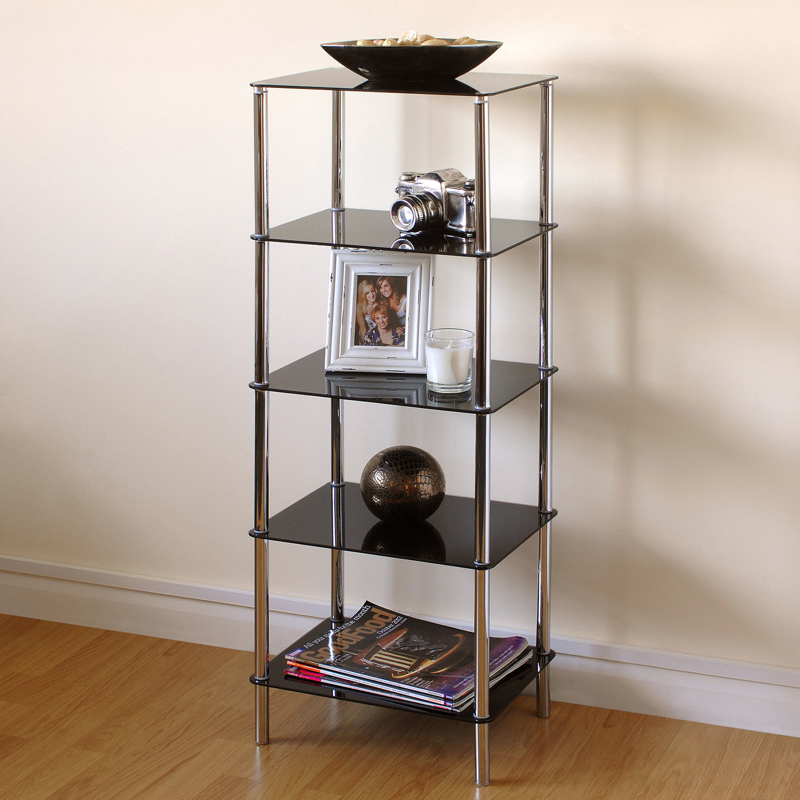 Hartleys Black Glass 5 Tier Side Table Display Shelf Unit Lounge Living Room Ebay