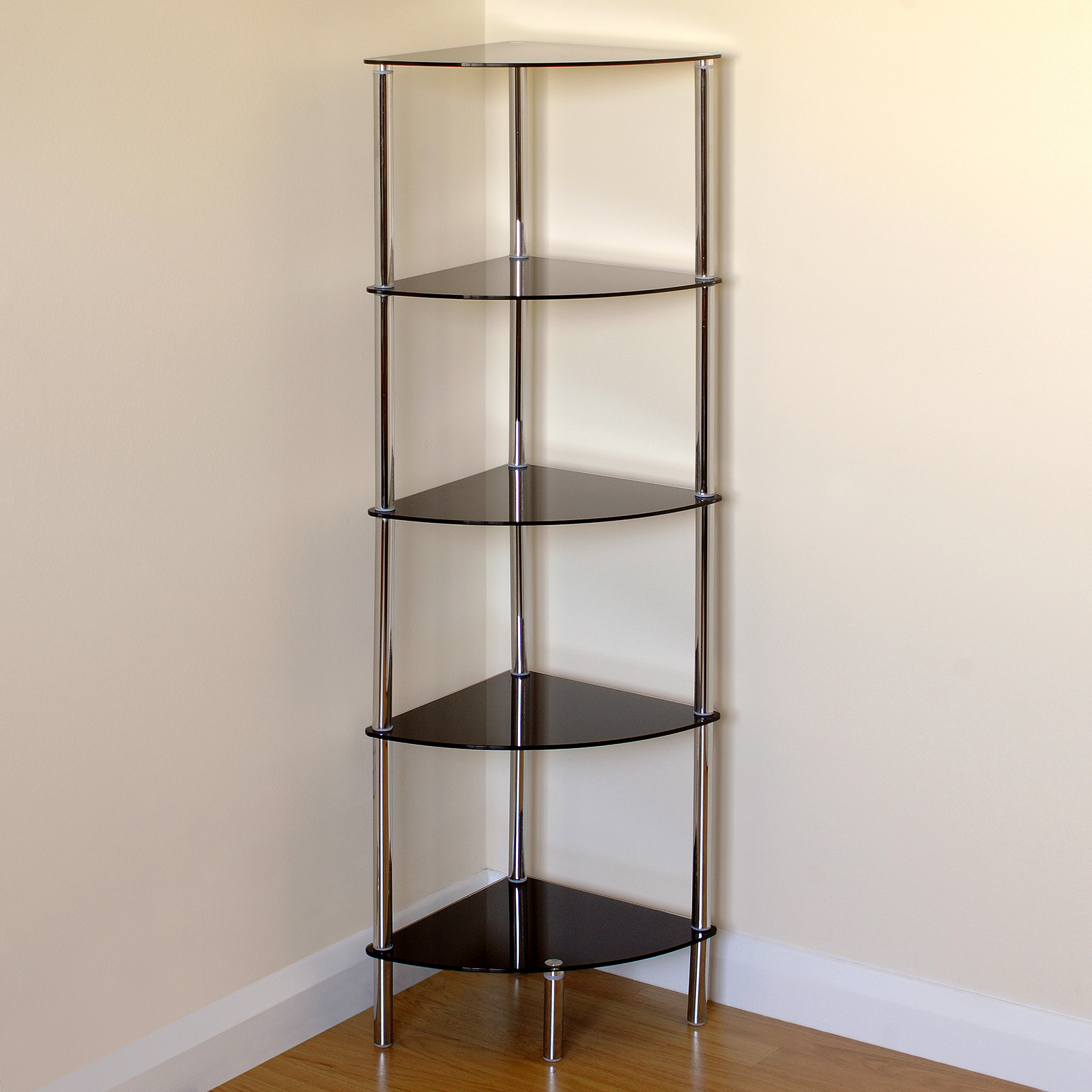 Hartleys 5 Tier Black Glass Side Corner Shelf Display Unit