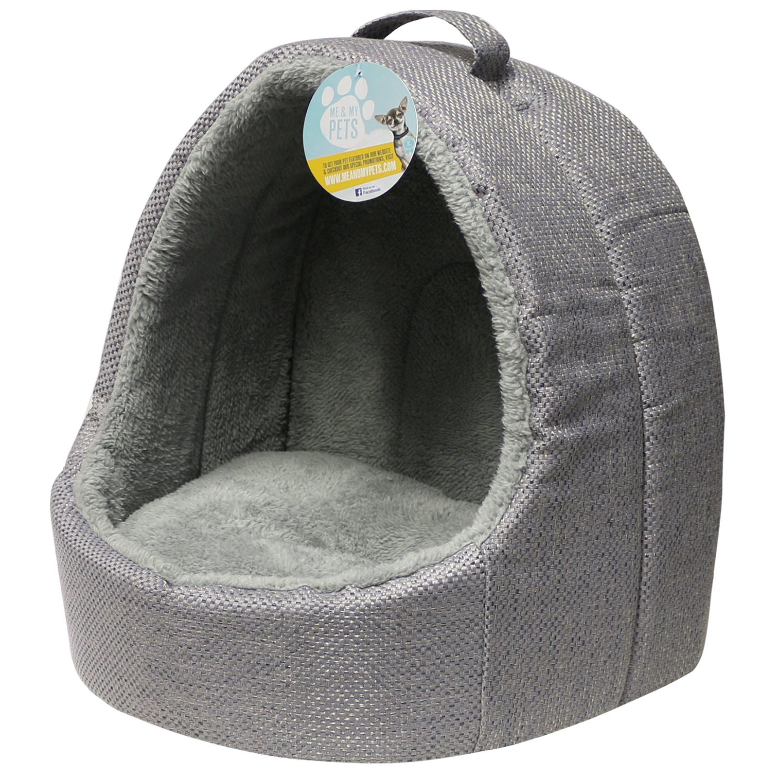 Me Amp My Grey Soft Fleece Igloo Cat Bed Pet Kitten Dog