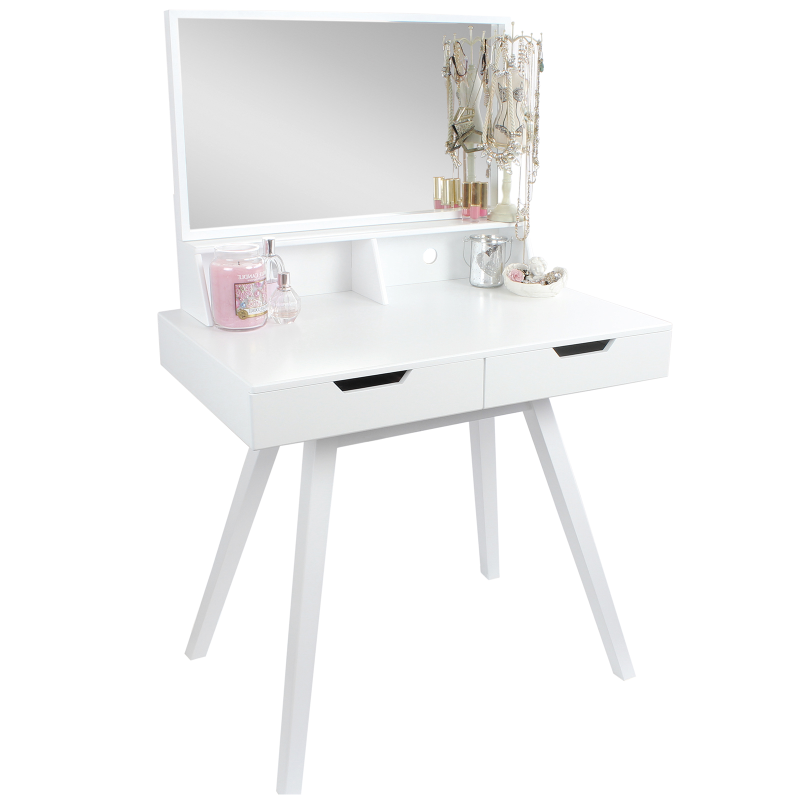 Modern White Dressing Table: HARTLEYS WHITE DRESSING TABLE MAKEUP/JEWELLERY STORAGE