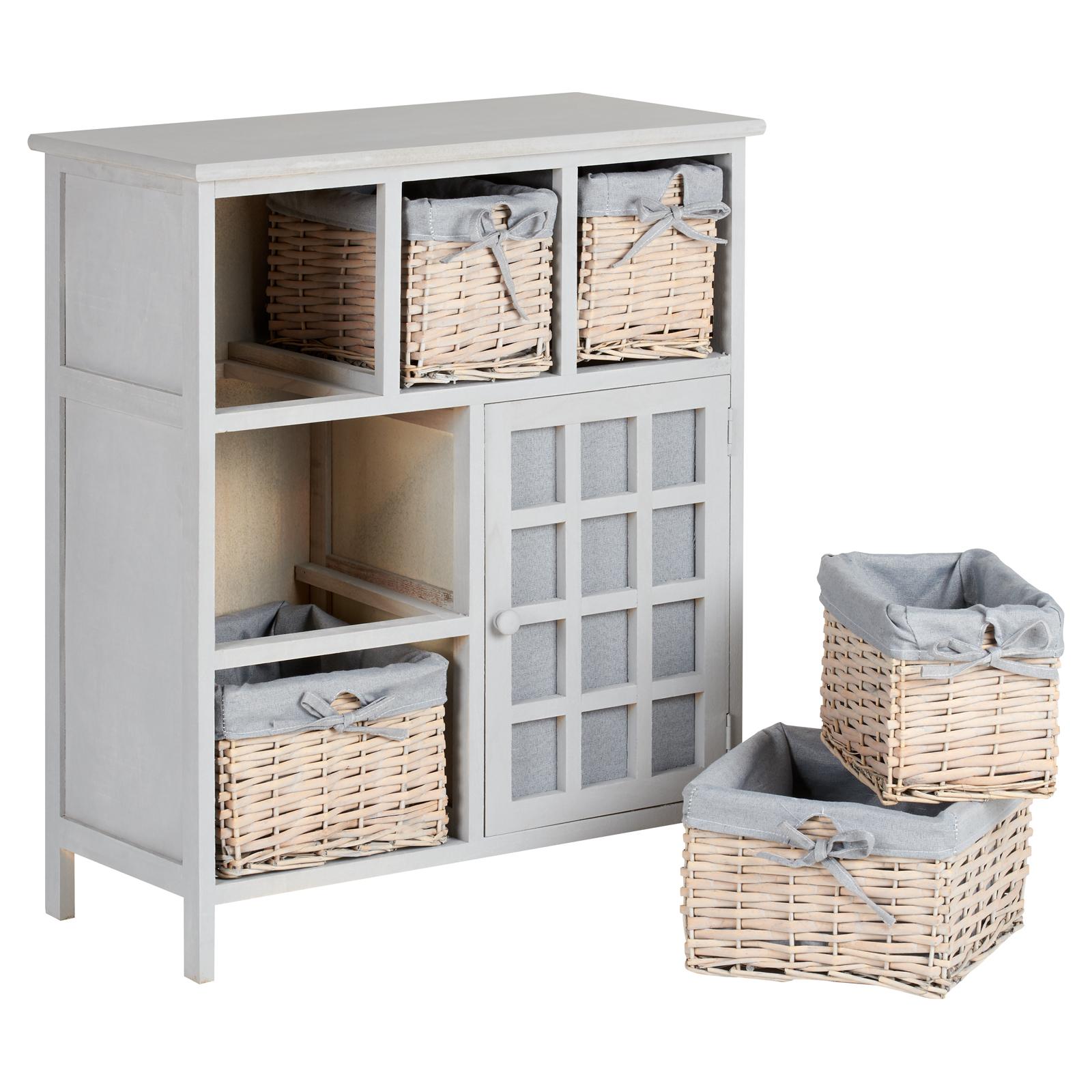 hartleys grey 5 drawer wicker basket storage unit shabby chic dresser sideboard 5051990998582 ebay. Black Bedroom Furniture Sets. Home Design Ideas