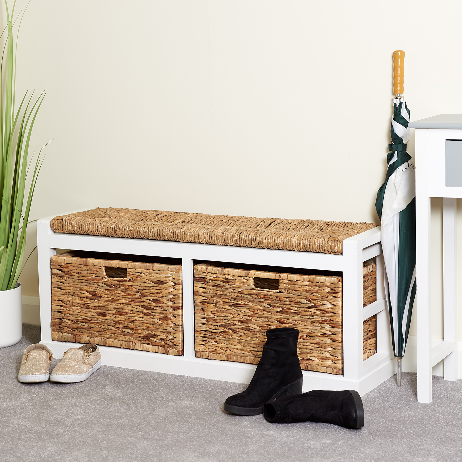 Superb Details About Hartleys Extra Wide 2 Drawer Hallway Storage Bench Wicker Seat Cushion Basket Pdpeps Interior Chair Design Pdpepsorg