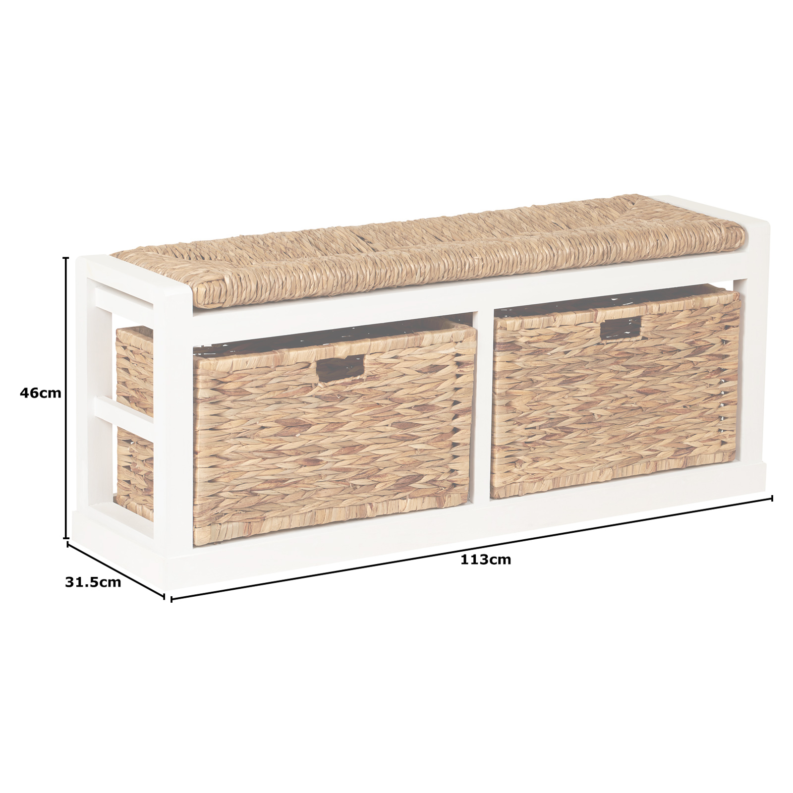 Hartleys Extra Wide 2 Drawer Hallway Storage Bench Wicker