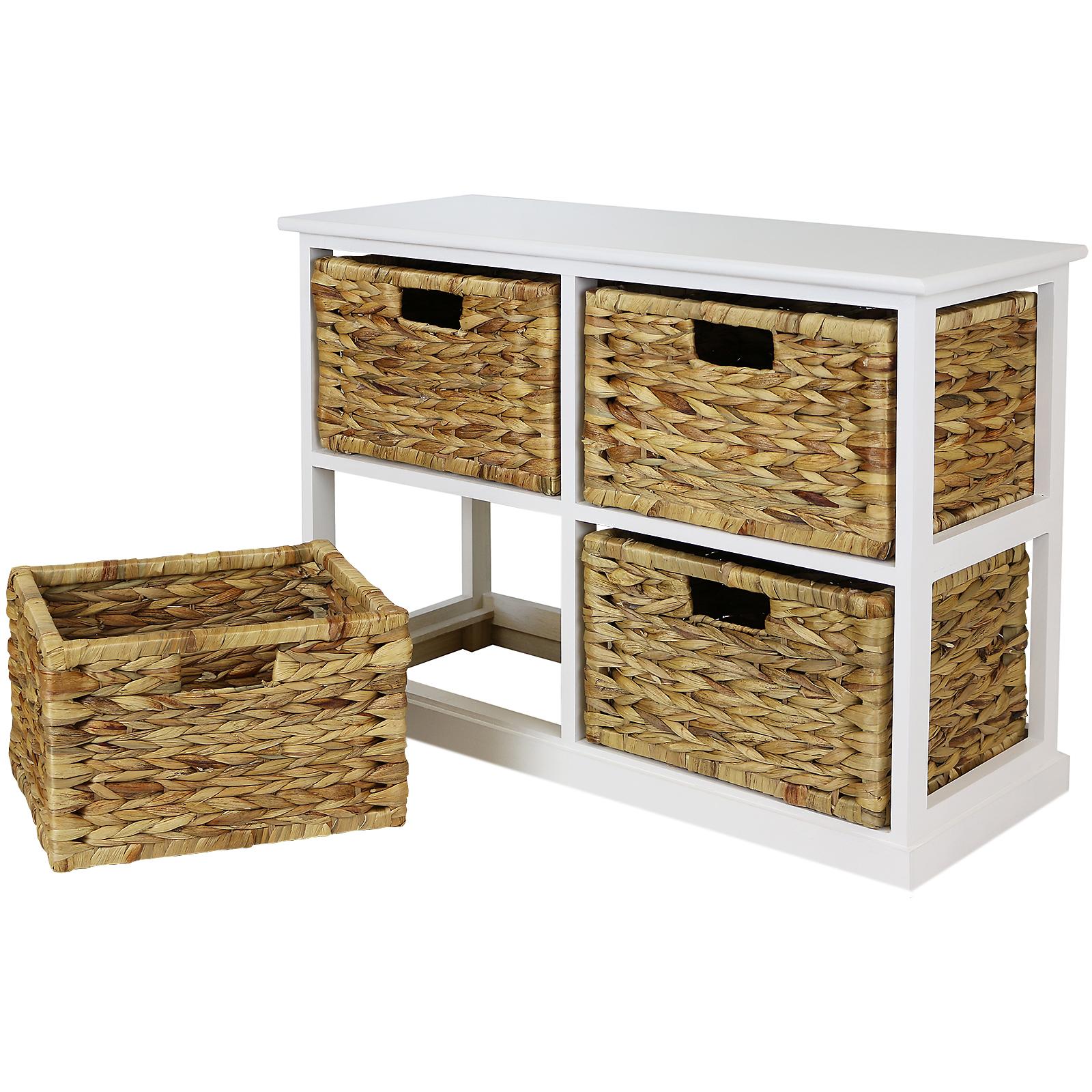 Hartleys 2x2 White Wood Home Storage Unit 4 Wicker Drawer