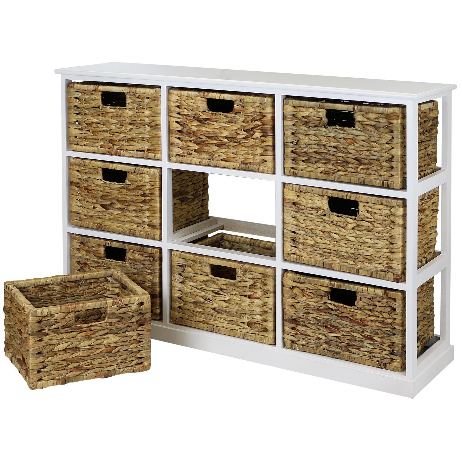 Hartleys 3x3 White Wood Home Storage Unit 9 Wicker Drawer