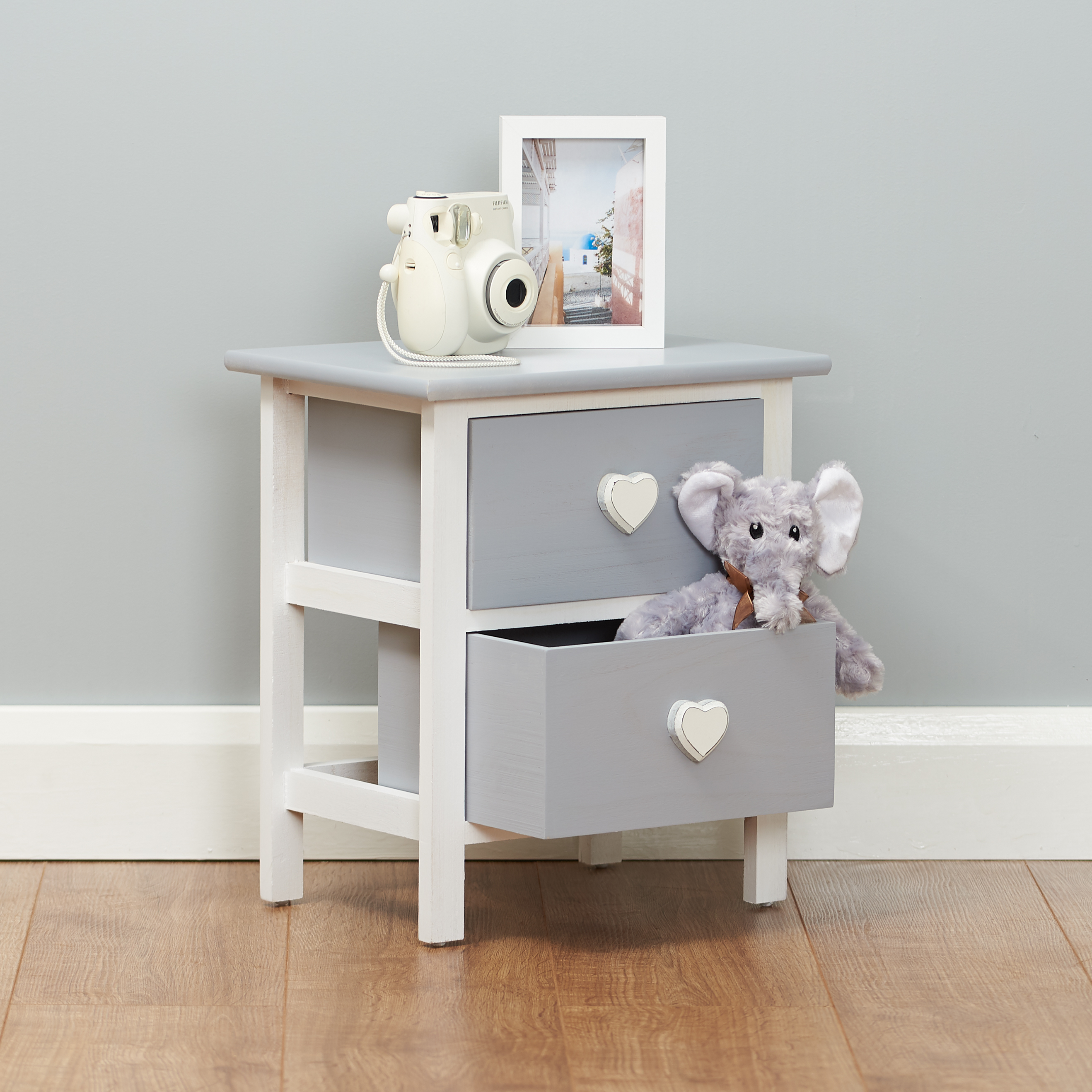 Sentinel Small Grey Heart Bedside Table 2 Drawer Nightstand Kids Childrens Home Furniture