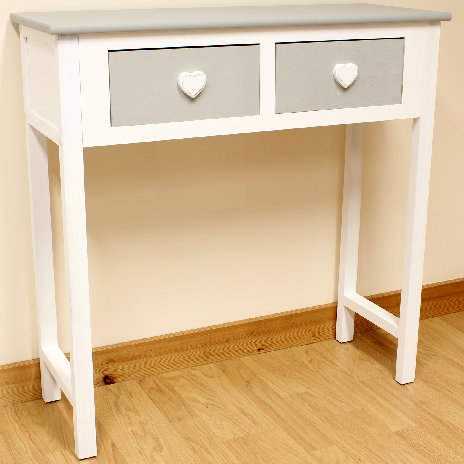 Sentinel 2 Drawer Dressing Table Grey U0026 White/Heart Handles/Girls/Childrens Console  Table