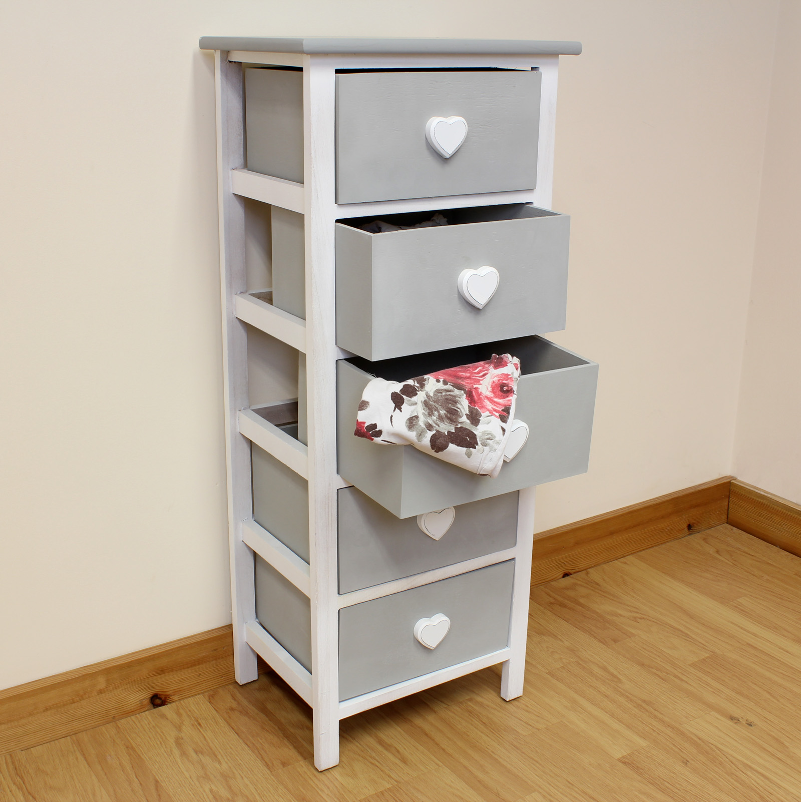 Details About White 3 Piece Storage Drawers Twin Bed Box: White & Grey Wooden Cabinet For Girls Bedroom/Furniture