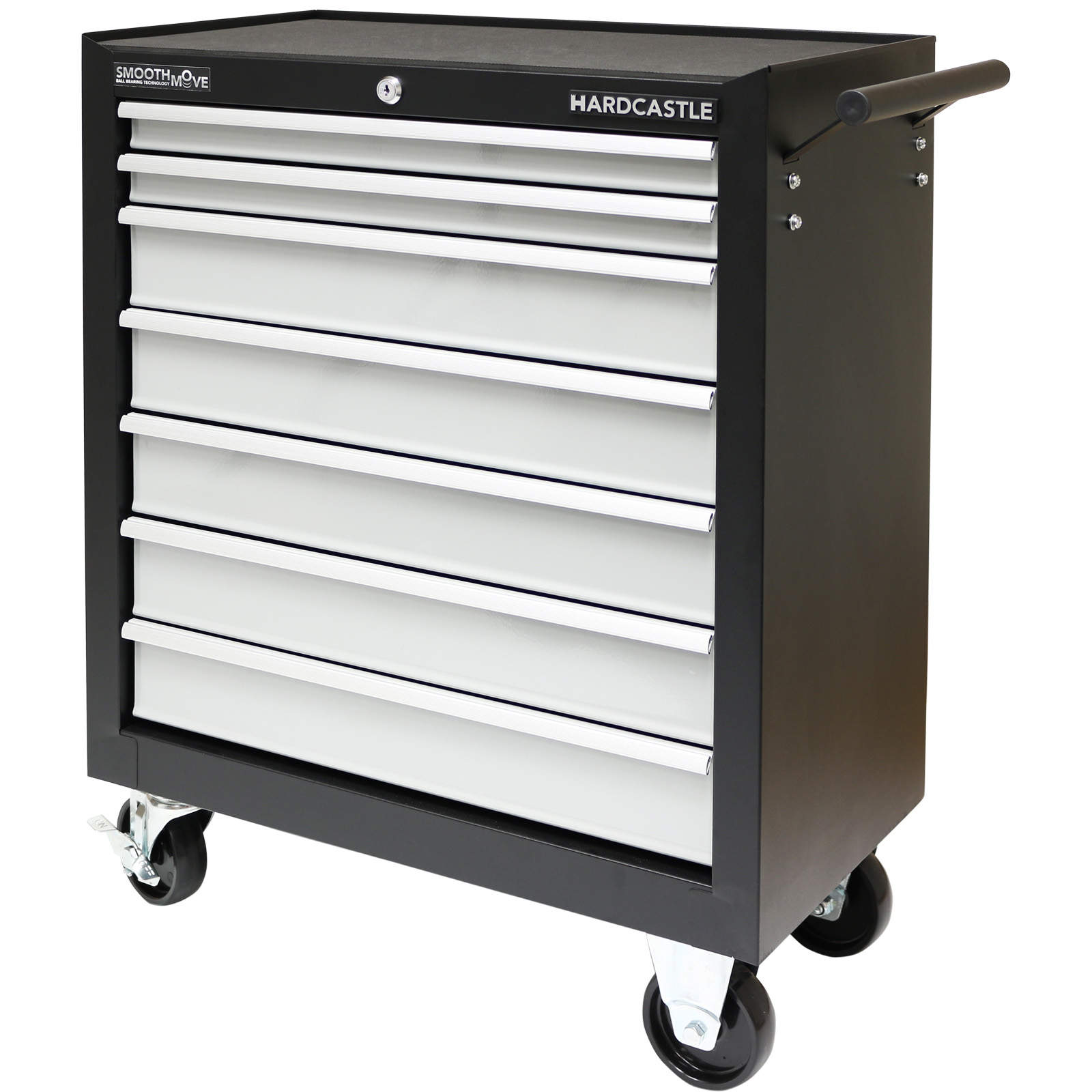 Black metal 7 drawer lockable tool chest box storage for Sideboard bei roller
