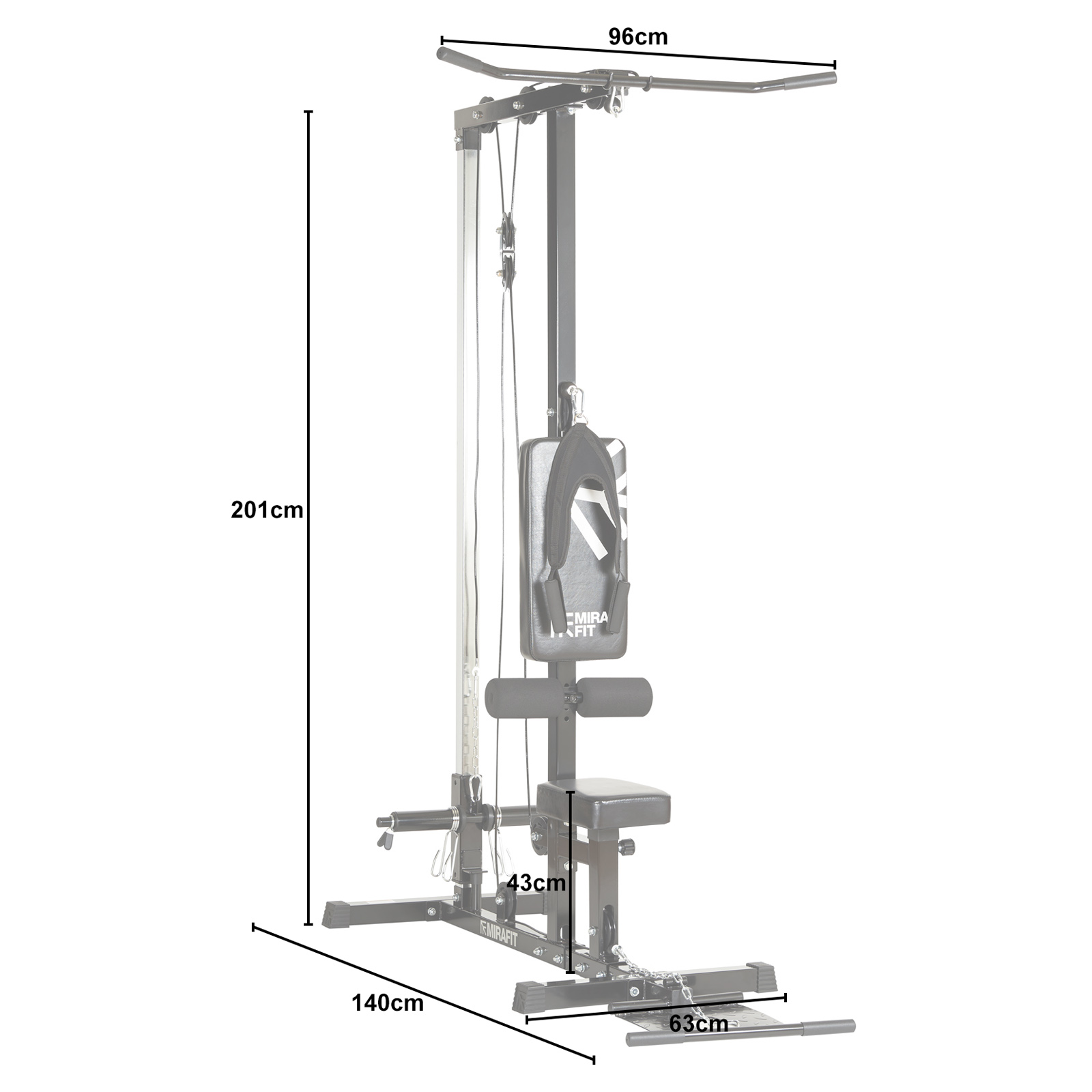 Mirafit Multi Gym Lat Pull Down Machine Seated Cable Row