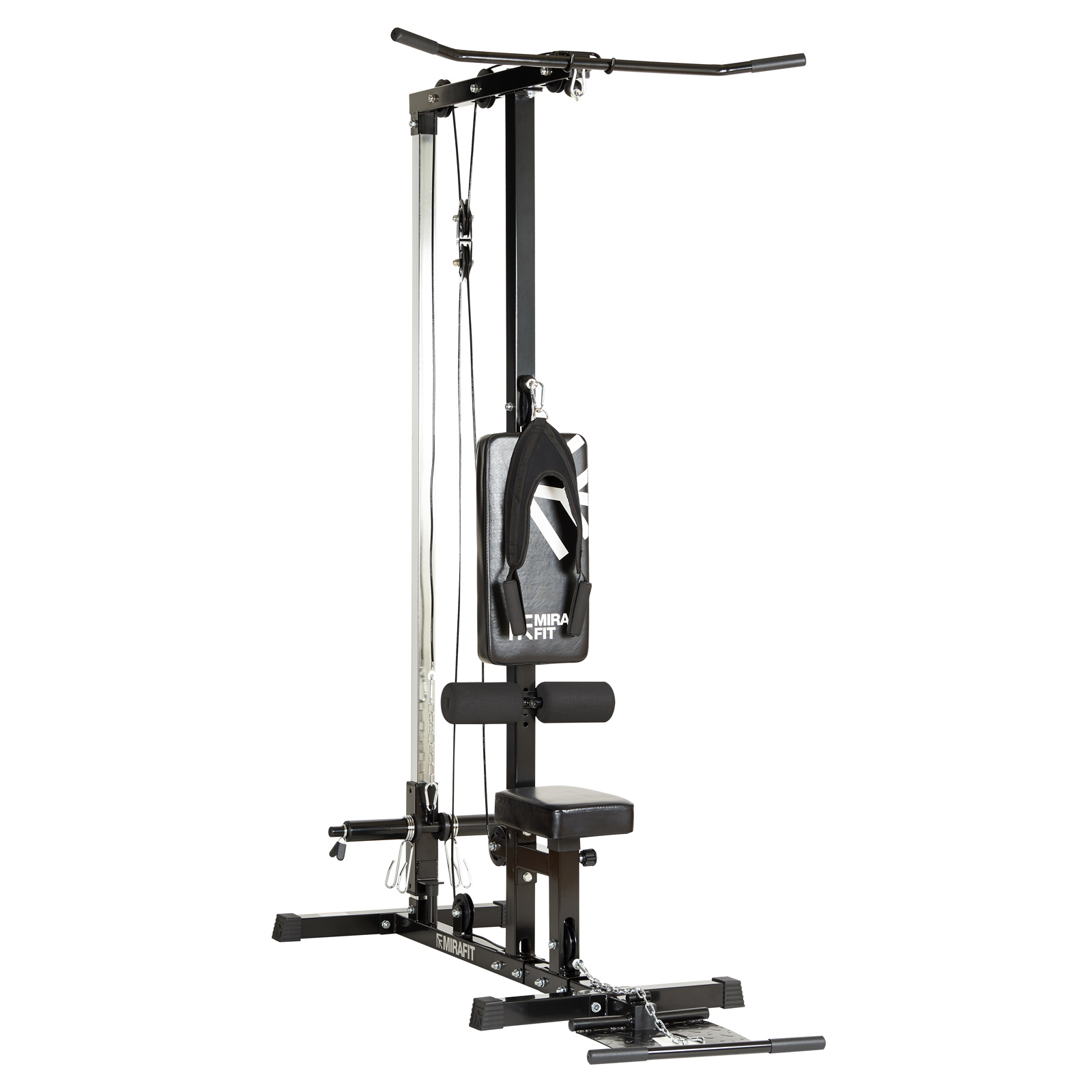 Details about Mirafit Multi Gym Lat Pull Down Machine Seated Cable Row/Arm  Curl Back Home Gym