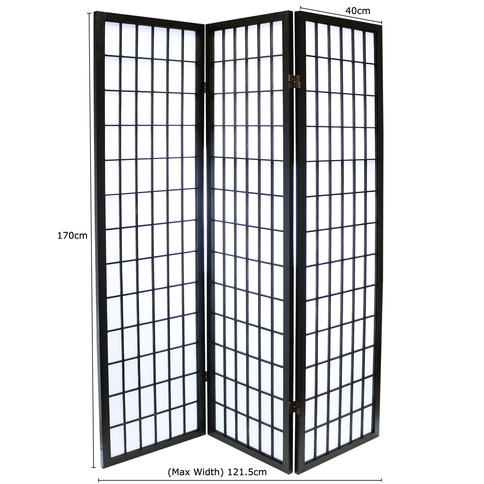 HARTLEYS BLACK 3 PANEL JAPANESETOKYO ROOM DIVIDERORIENTAL SHOJI