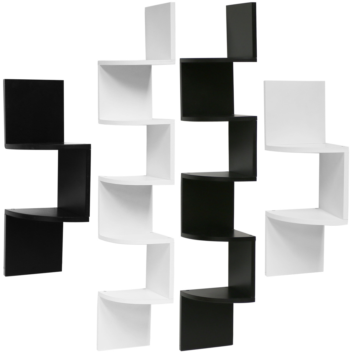 hartleys zig zag wood floating corner wall shelf unit. Black Bedroom Furniture Sets. Home Design Ideas