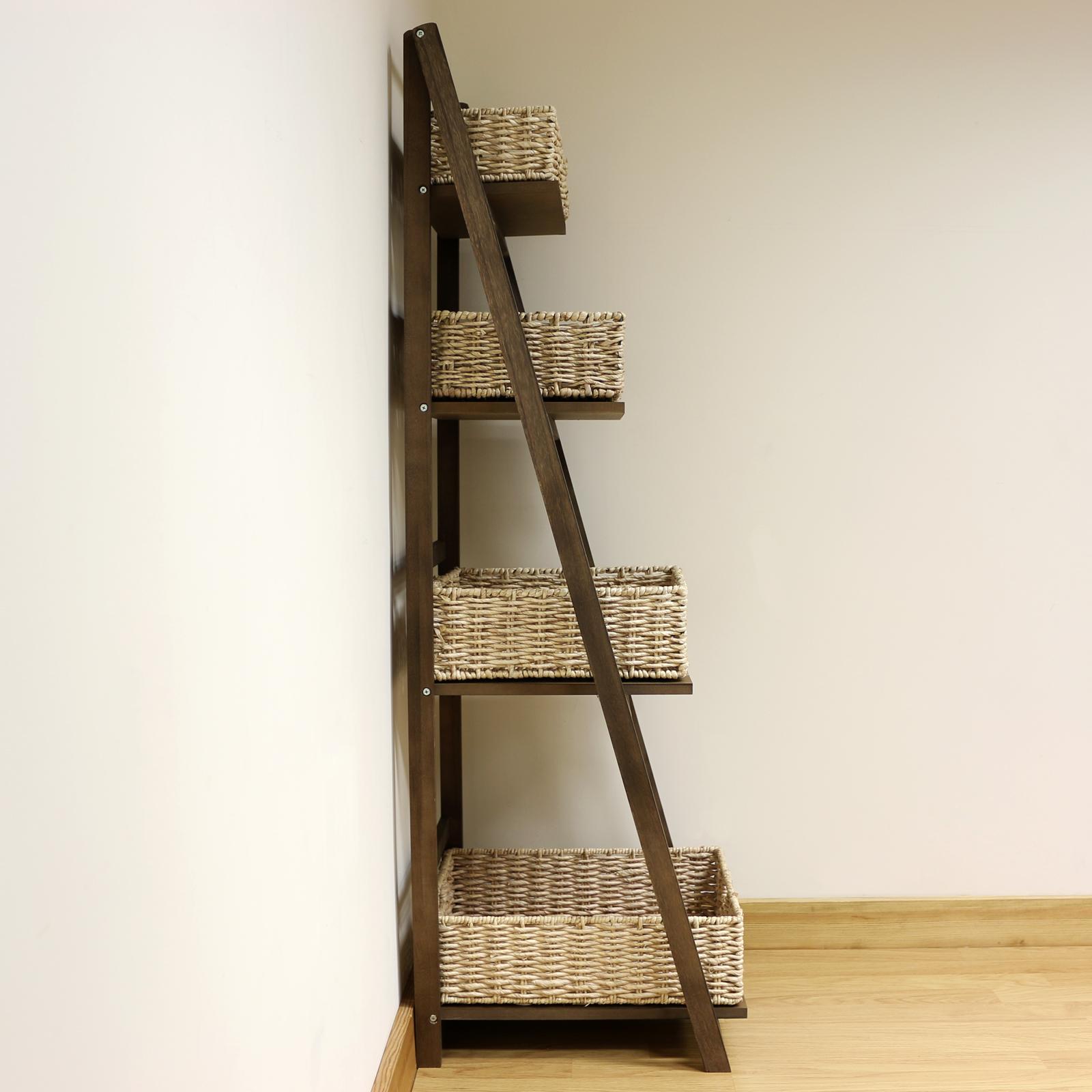 ladder shelves brown