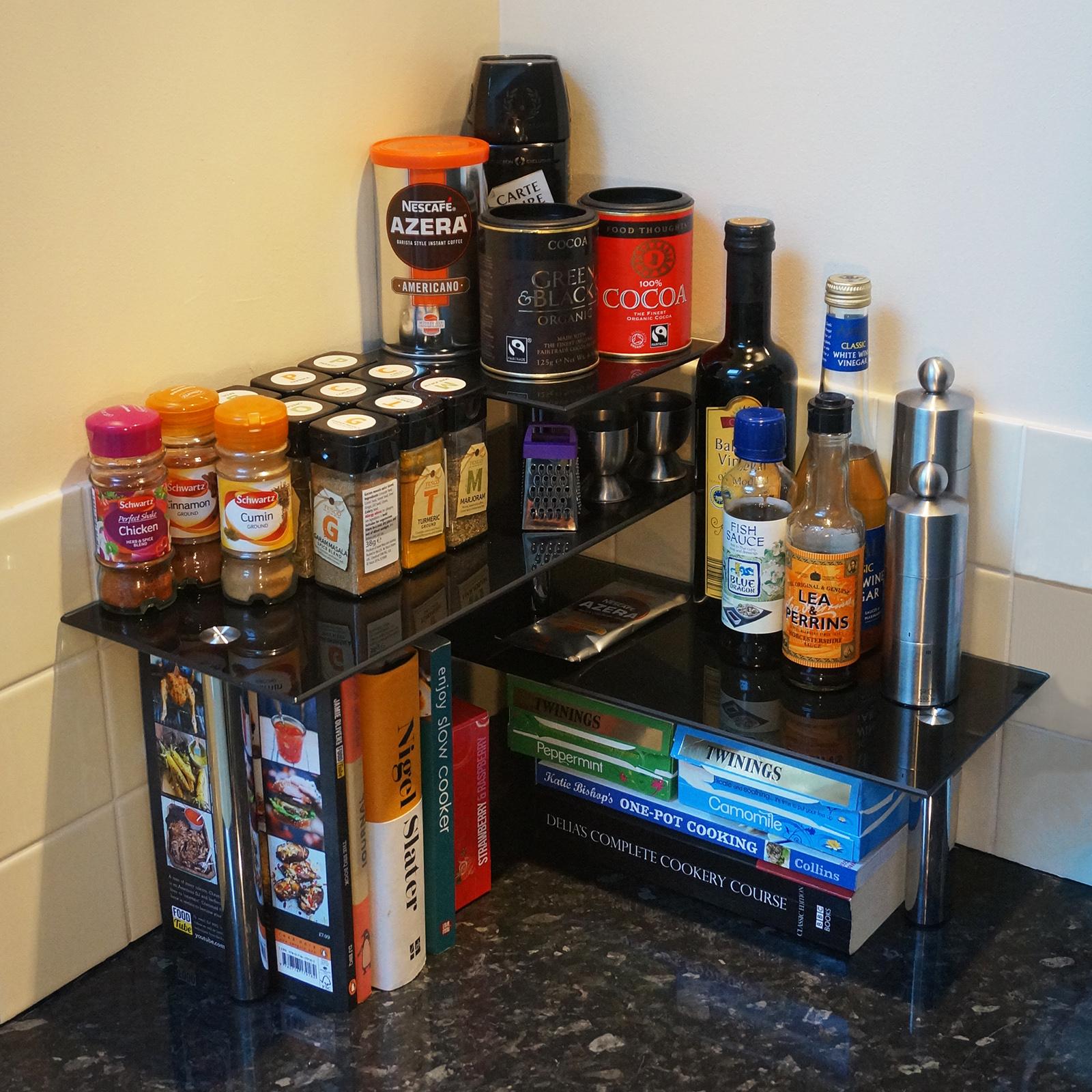 hartleys 3 tier corner organiser kitchen worktop shelves/storage