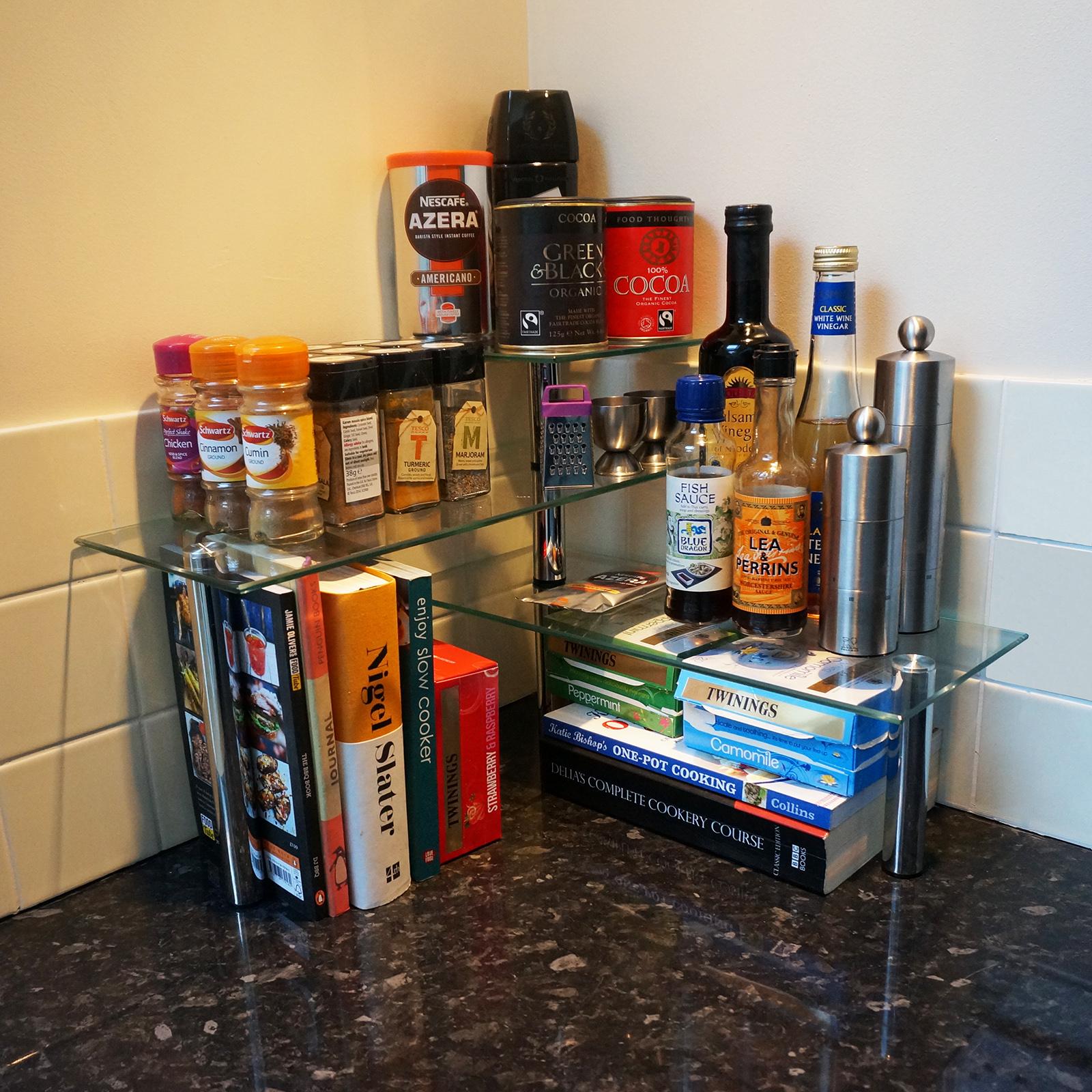 Hartleys 3 Tier Corner Organiser Kitchen Worktop Shelves