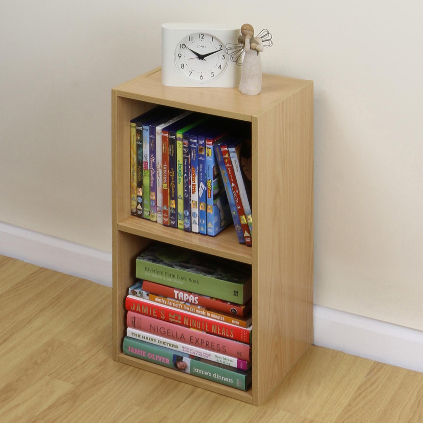 new concept 4450d 697d3 2 Tier Wooden Beech Cube Bookcase Storage Unit Shelving ...