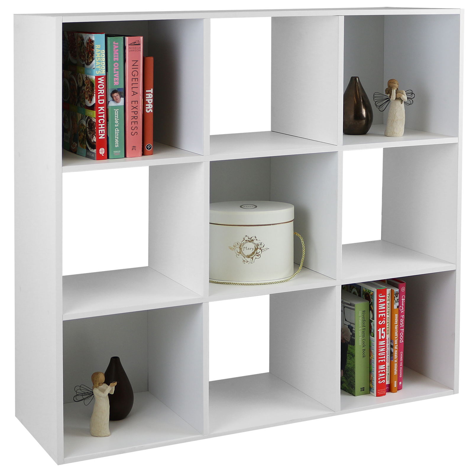 Hartleys White 9 Cube Modular Square Storage Shelving 3