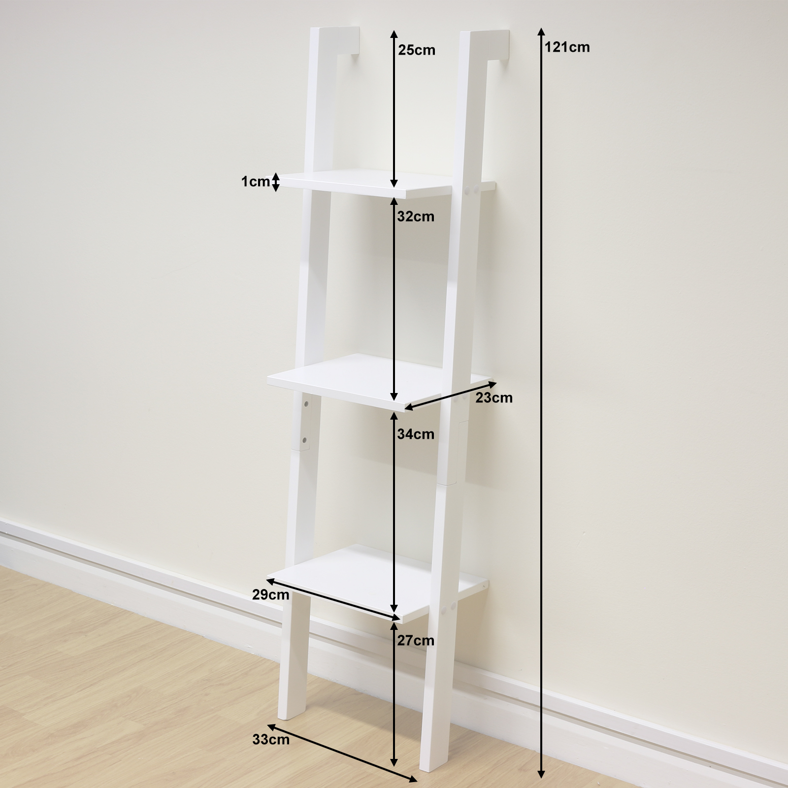 3 Tier White Ladder Wall Shelf Home Storage/Display Unit ...