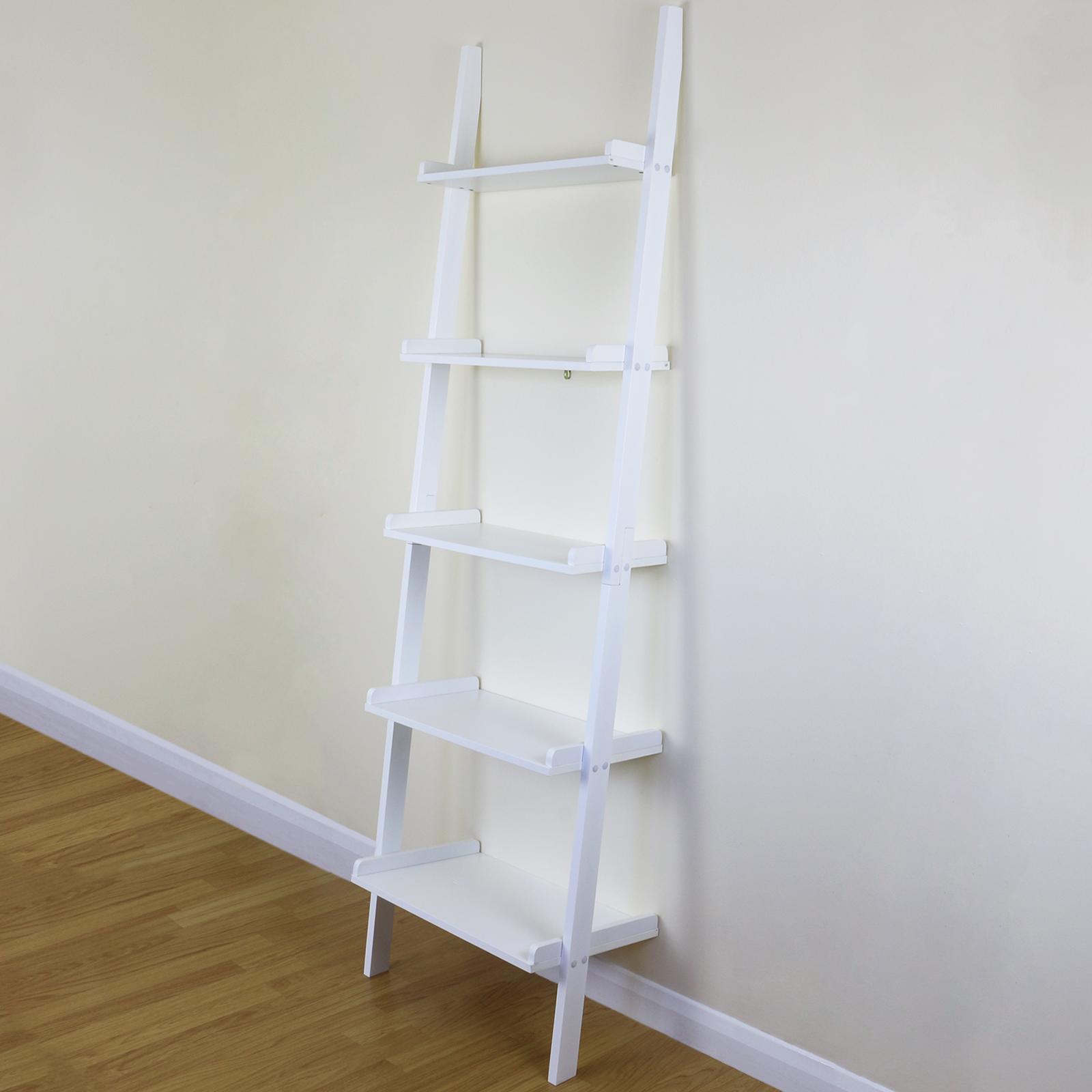 5 Tier White Ladder Wall Shelf Home Storage Display Unit