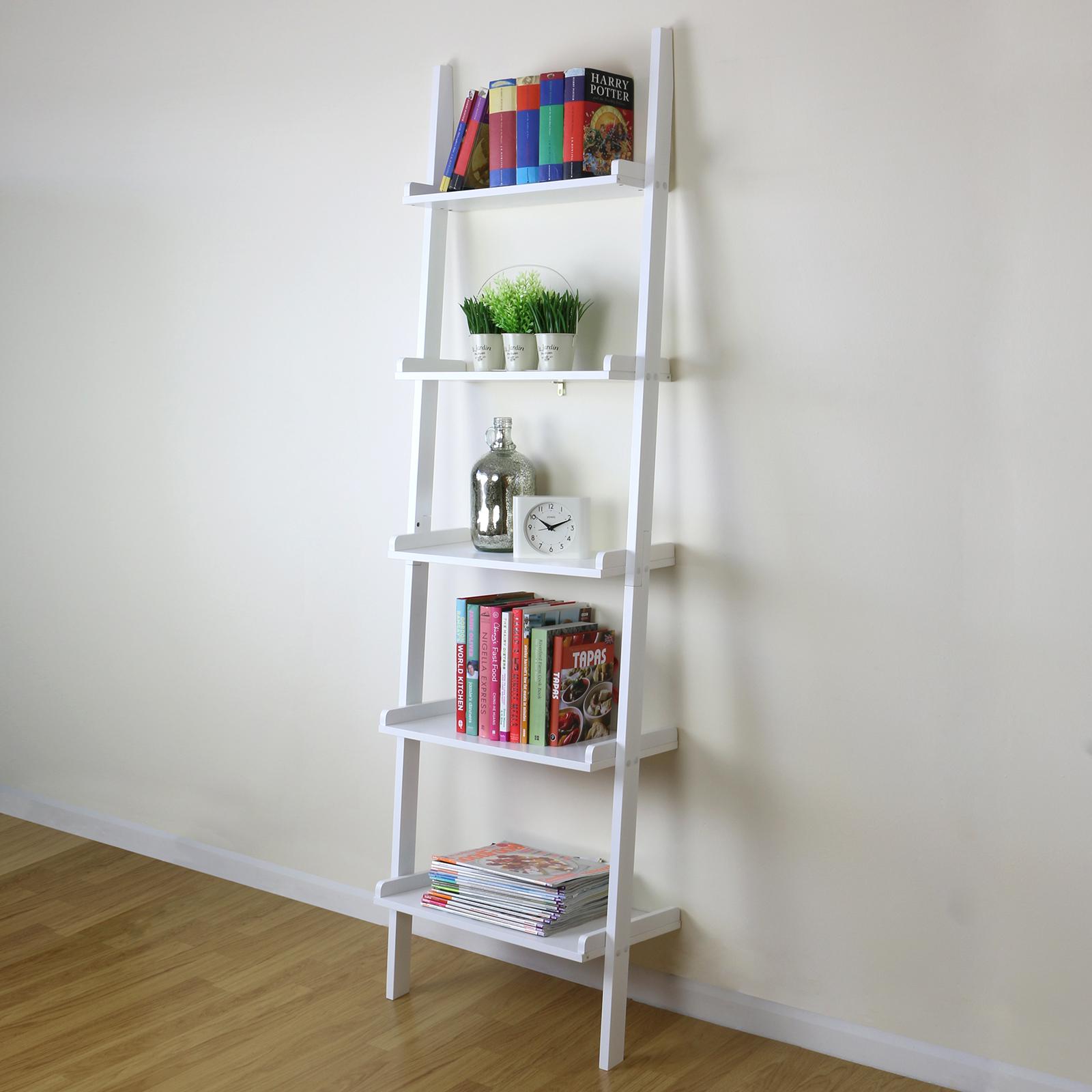5 Tier White Ladder Wall Shelf Home Storage/Display Unit ...